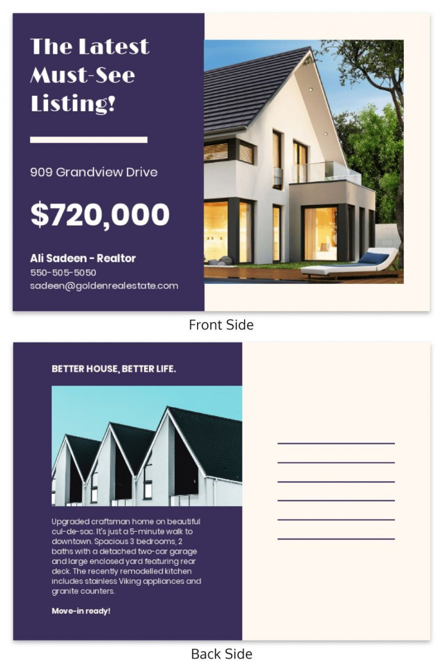 000 Frightening Real Estate Postcard Template Highest Clarity  Agent Free Microsoft Word Investor868