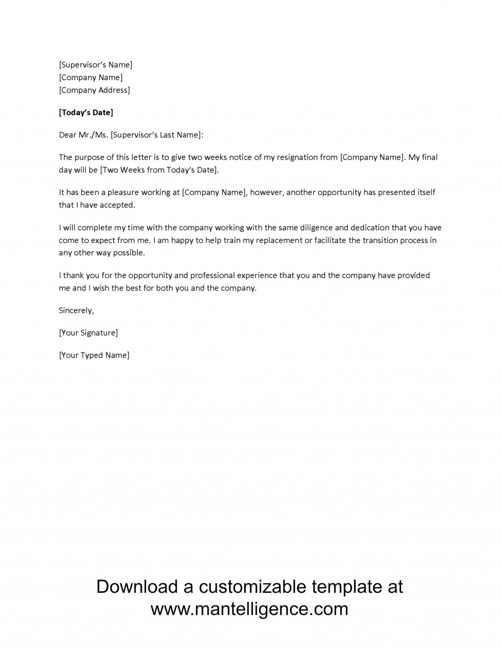 000 Frightening Two Week Notice Letter Template High Definition  Free Professional 2Large