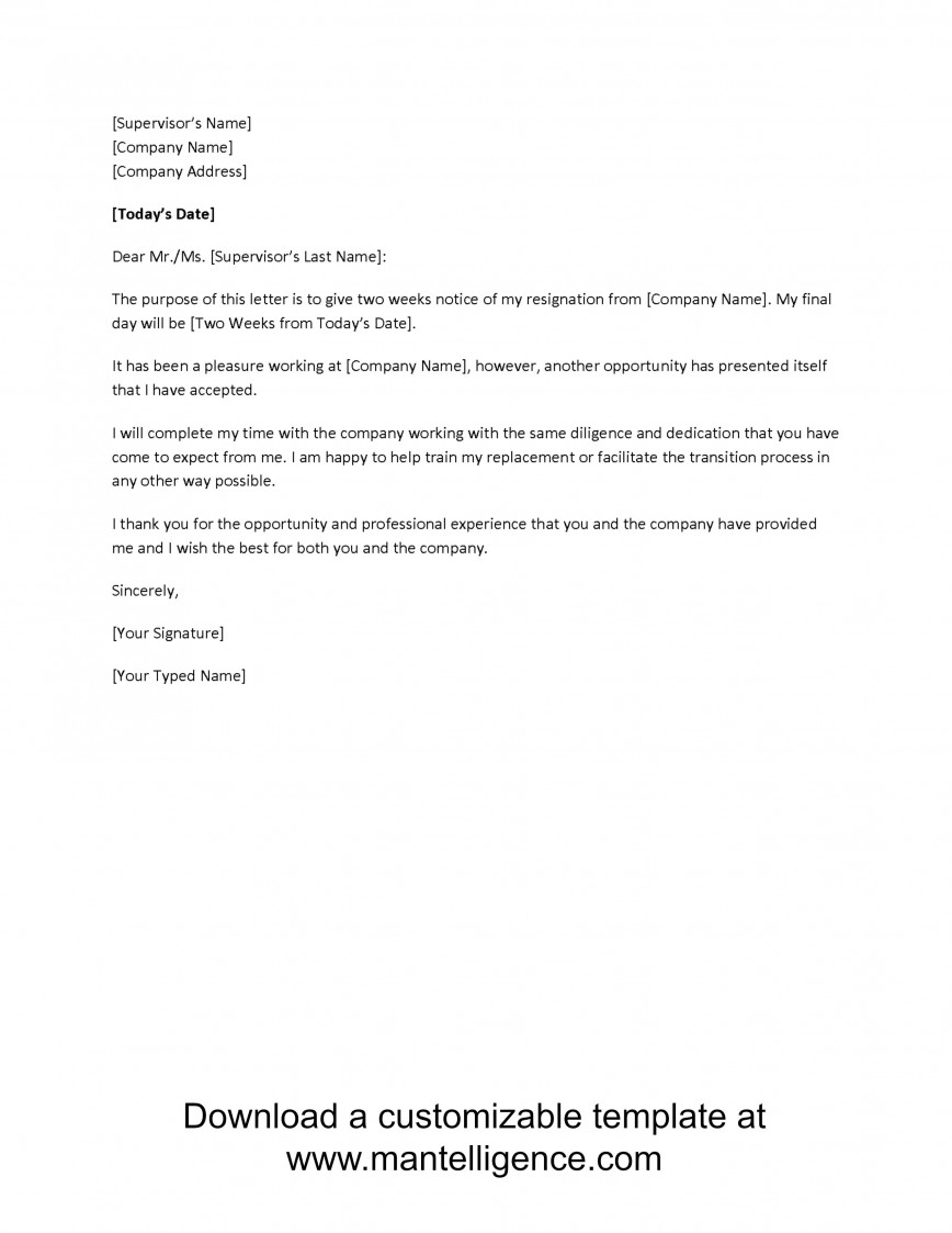 000 Frightening Two Week Notice Letter Template High Definition  Free 2 Word