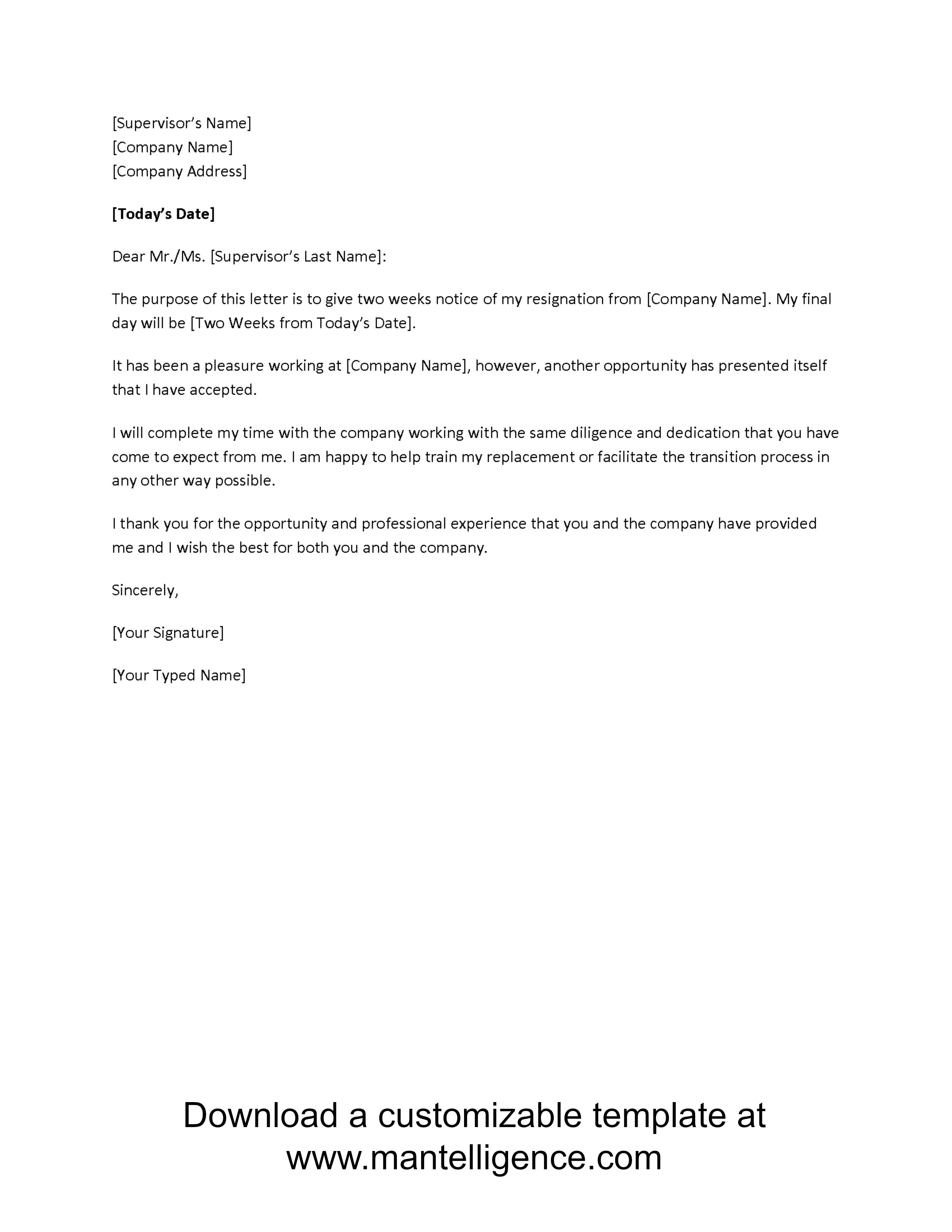 000 Frightening Two Week Notice Letter Template High Definition  Free Professional 2Full