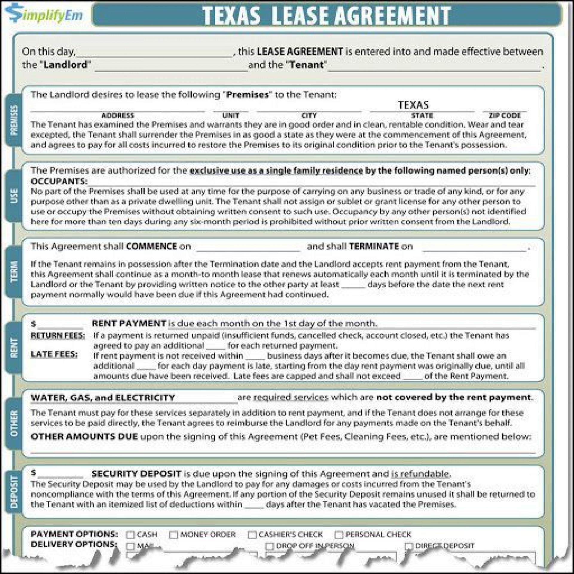 000 Imposing Apartment Lease Agreement Form Texa Photo 1920