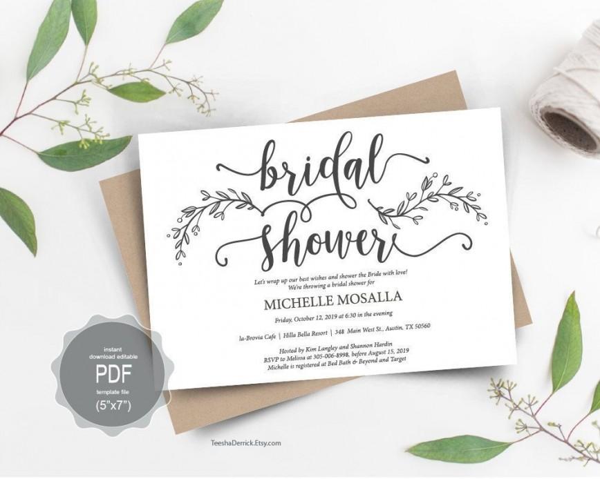 000 Imposing Bridal Shower Card Template Sample  Wedding Invitation Free Download