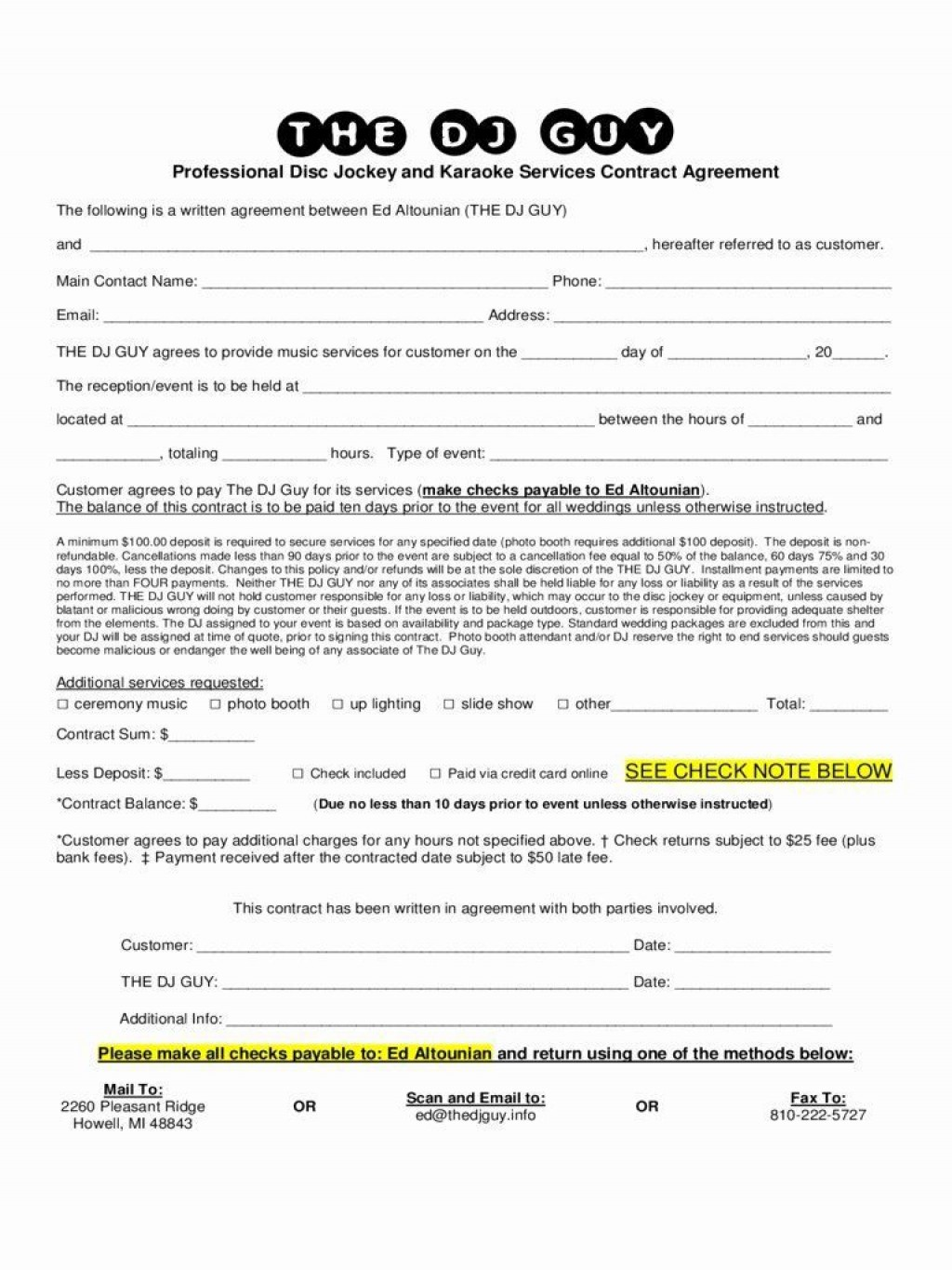 000 Imposing Disc Jockey Contract Template Design  Disk FreeLarge