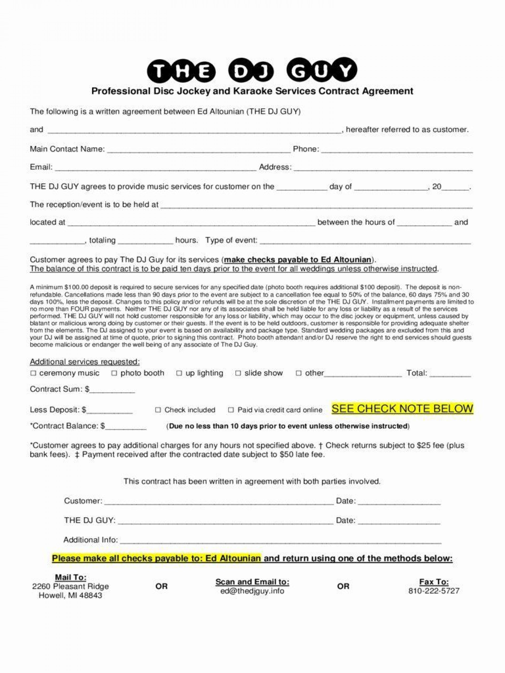 000 Imposing Disc Jockey Contract Template Design  Disk Free1920