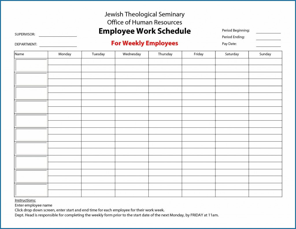 000 Imposing Free Employee Scheduling Template Highest Quality  Templates Weekly Work Schedule Printable LunchLarge