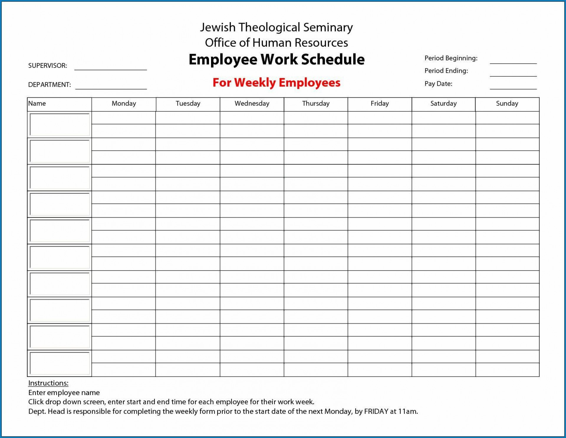 000 Imposing Free Employee Scheduling Template Highest Quality  Templates Weekly Work Schedule Printable Lunch1920