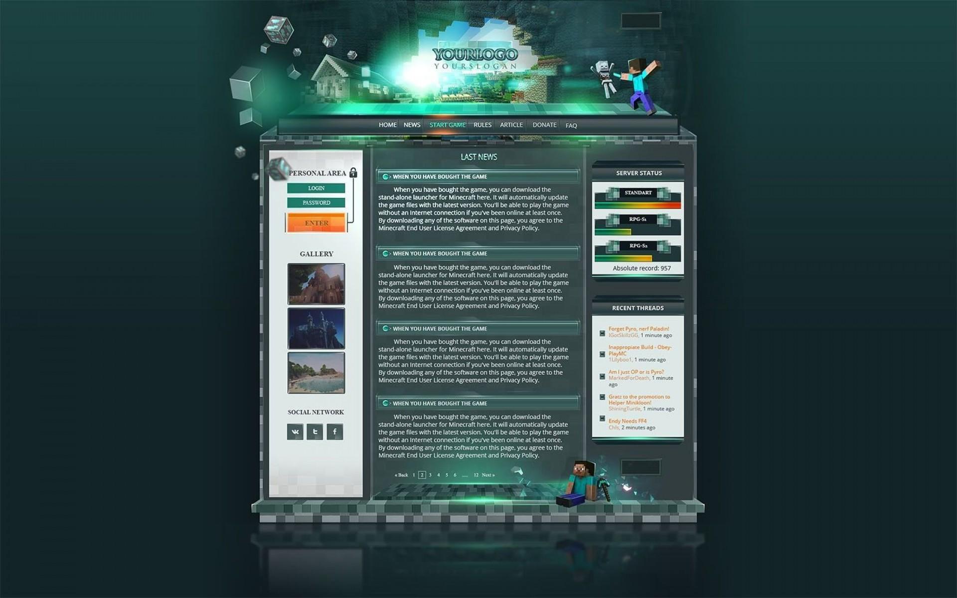 000 Imposing Minecraft Website Template Html Free Download Idea 1920