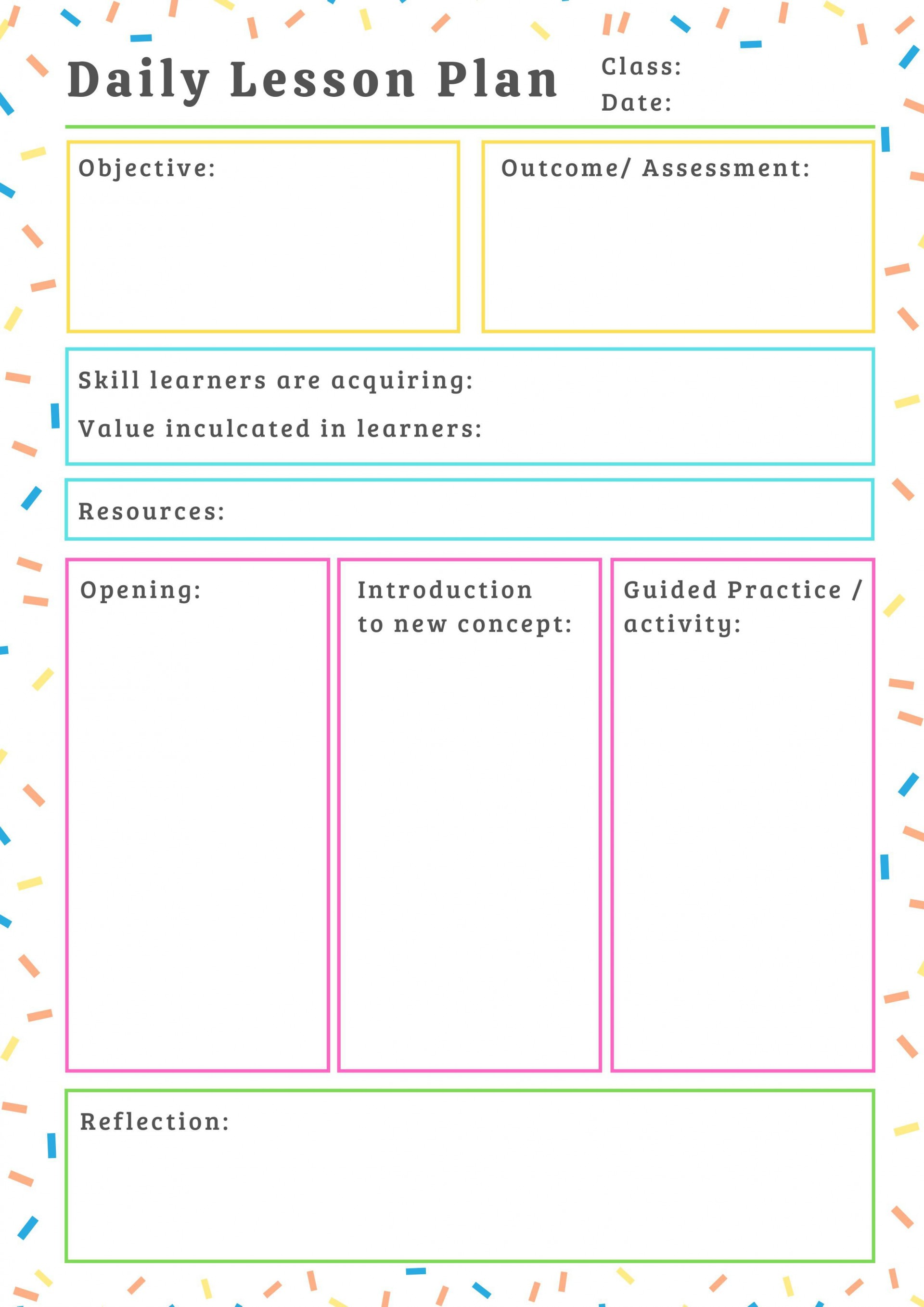000 Imposing Printable Lesson Plan Template For Teacher Sample  Teachers1920