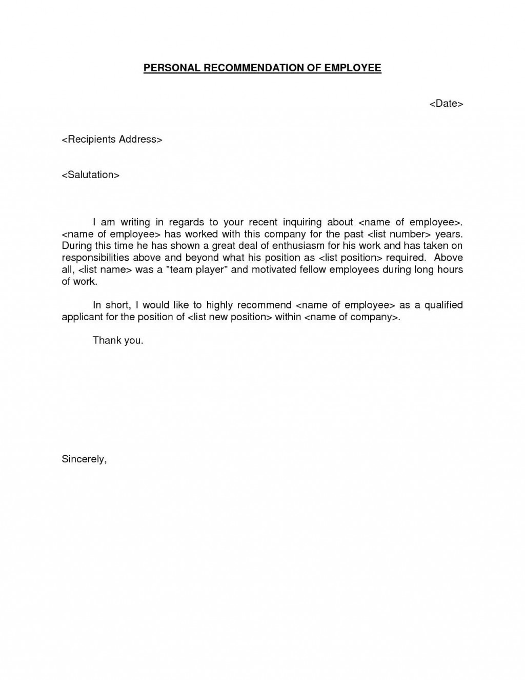 Letter Of Recommendation Sample For Job from www.addictionary.org