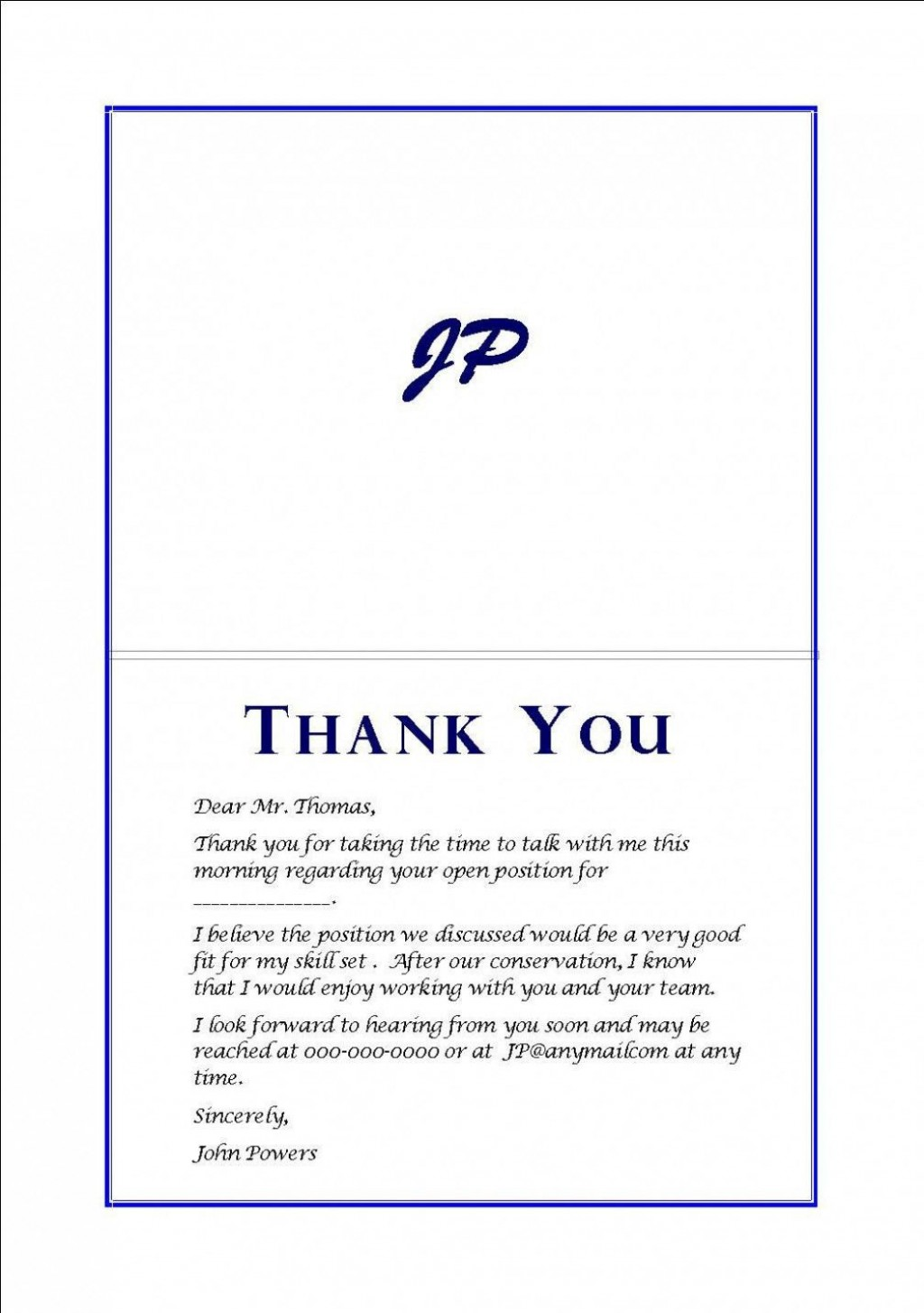 000 Imposing Thank You Note Template After Phone Interview Sample  Letter ExampleLarge