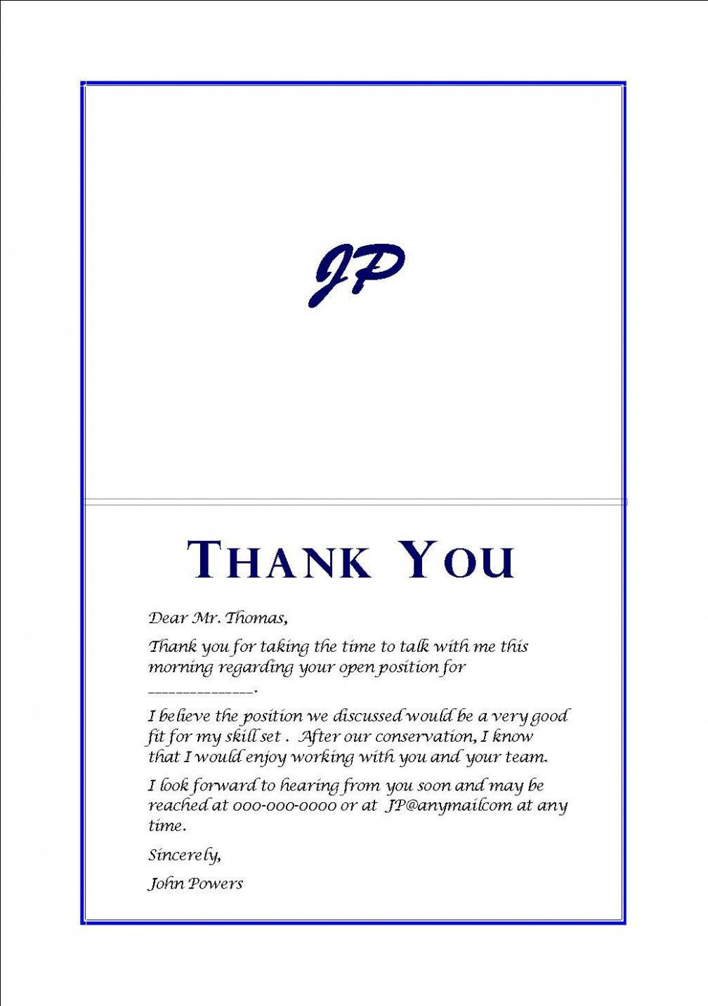 000 Imposing Thank You Note Template After Phone Interview Sample  Letter ExampleFull