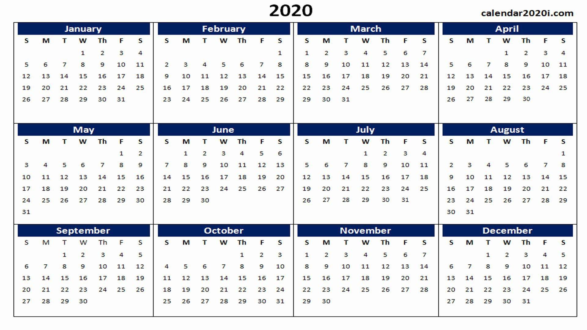 000 Impressive 2020 Yearly Calendar Template Sample  Word Uk1920