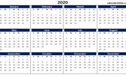 000 Impressive 2020 Yearly Calendar Template Sample  Word Uk