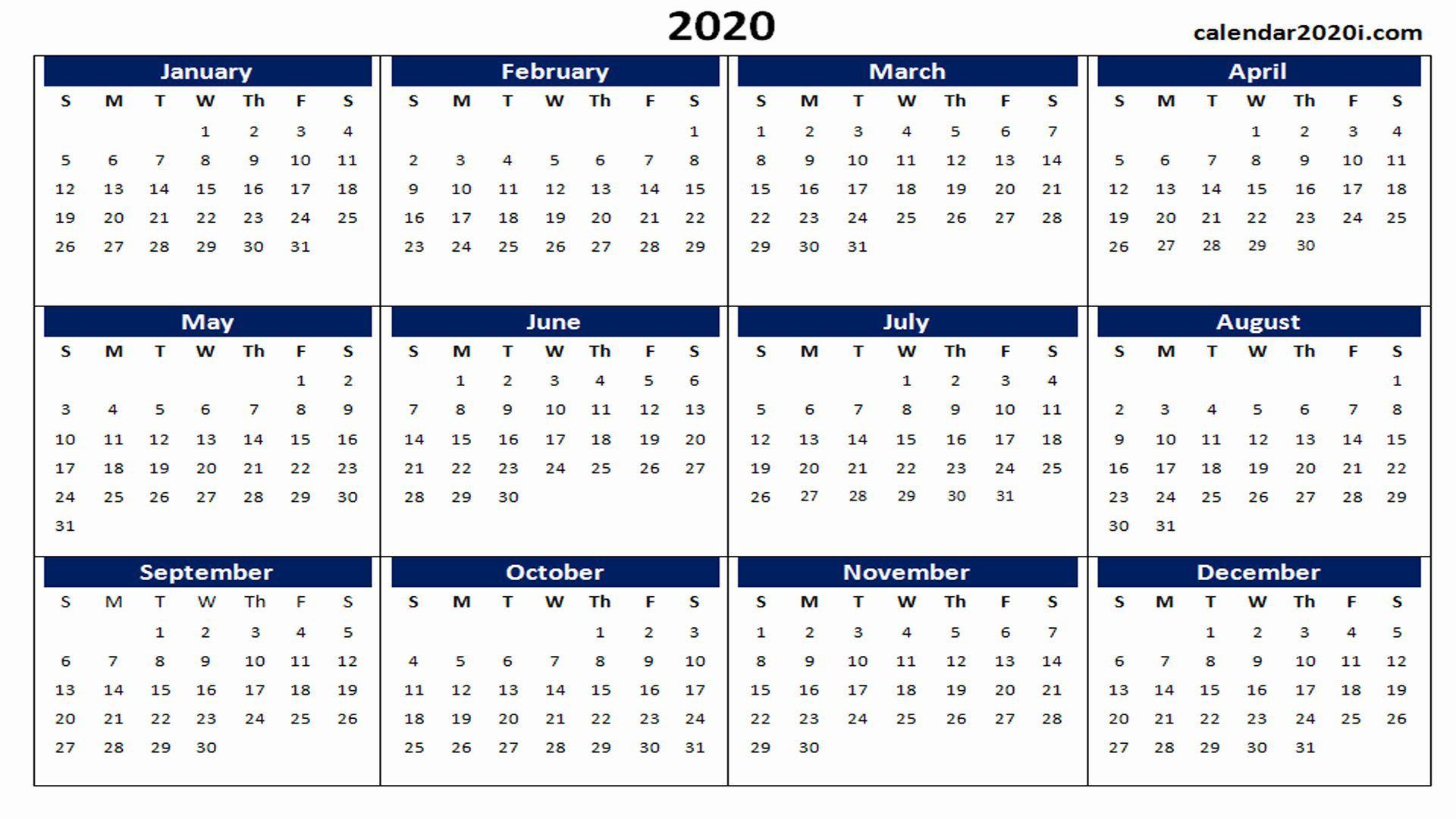 000 Impressive 2020 Yearly Calendar Template Sample  Word UkFull