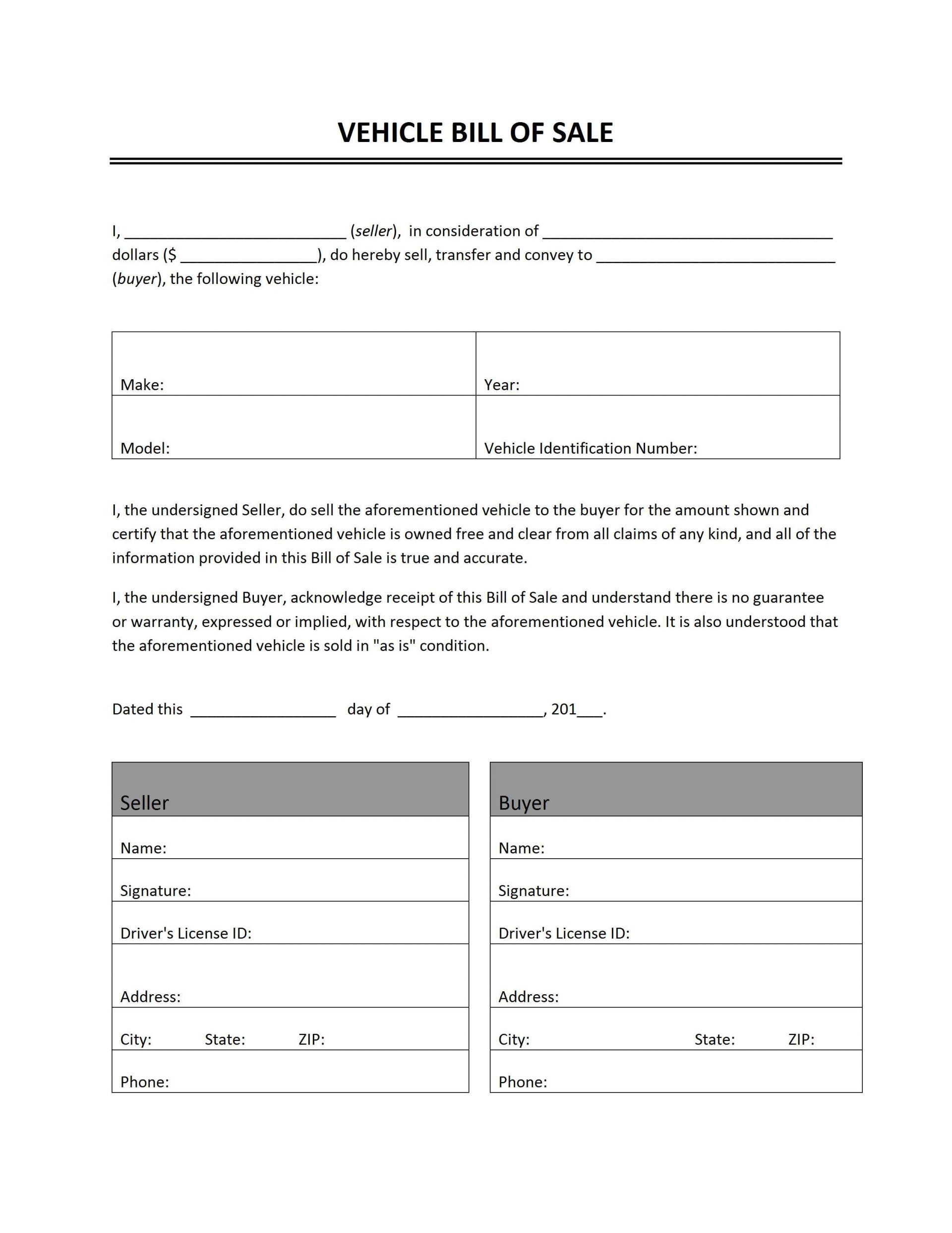 000 Impressive Automobile Bill Of Sale Template High Definition  Word Vehicle Fillable Pdf Texa With Notary1920