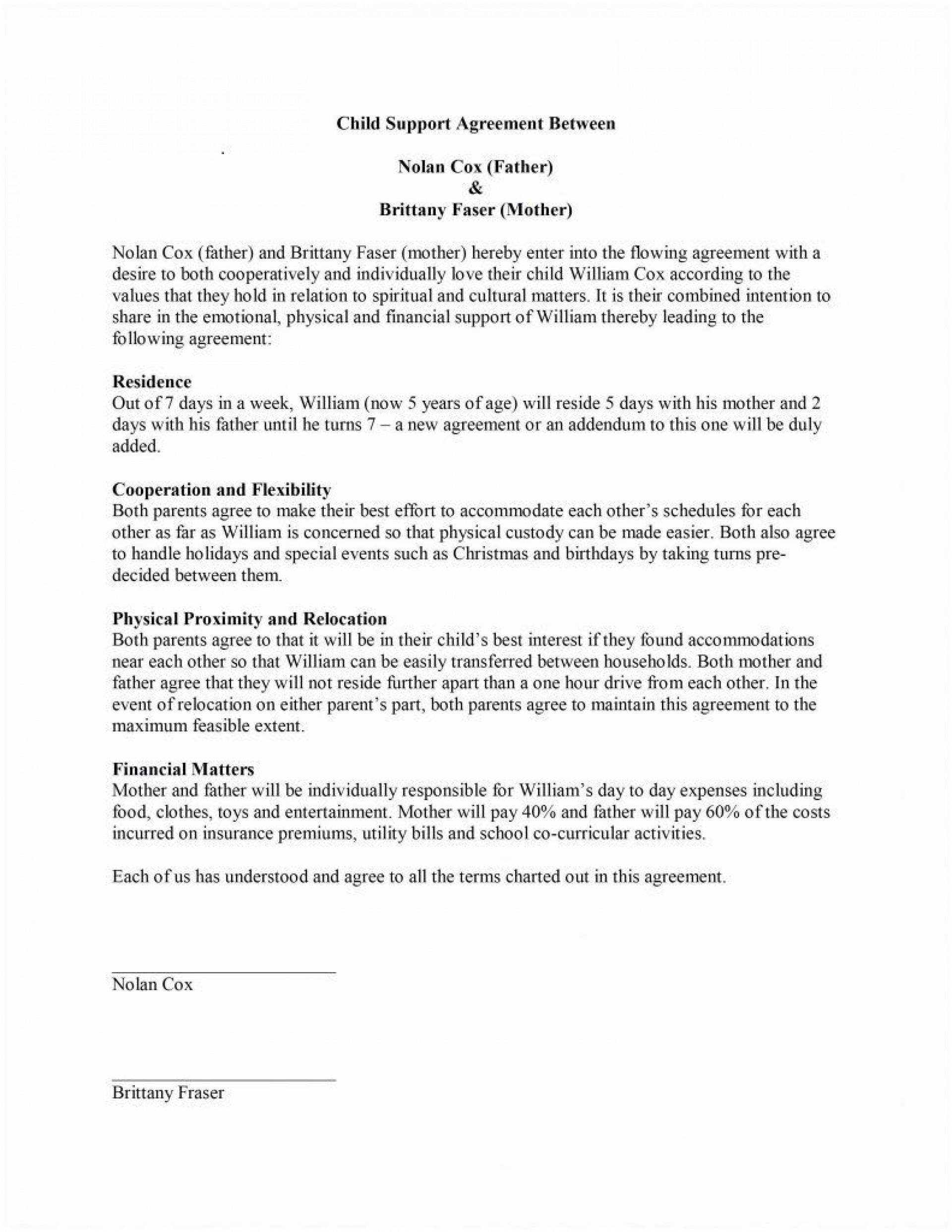 000 Impressive Child Support Agreement Template Picture  Australia Bc Alberta1920