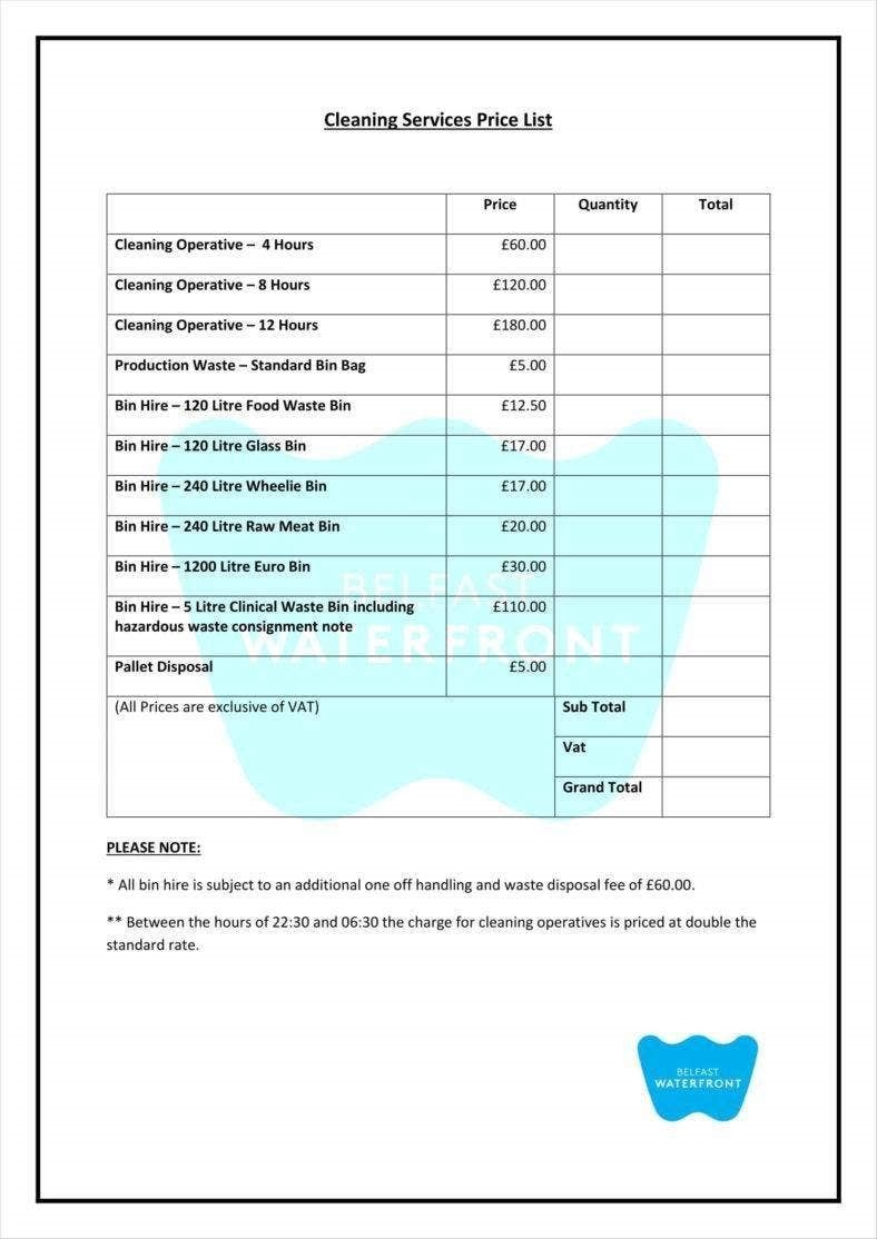 000 Impressive Cleaning Service Price List Template Example  Commercial PdfFull
