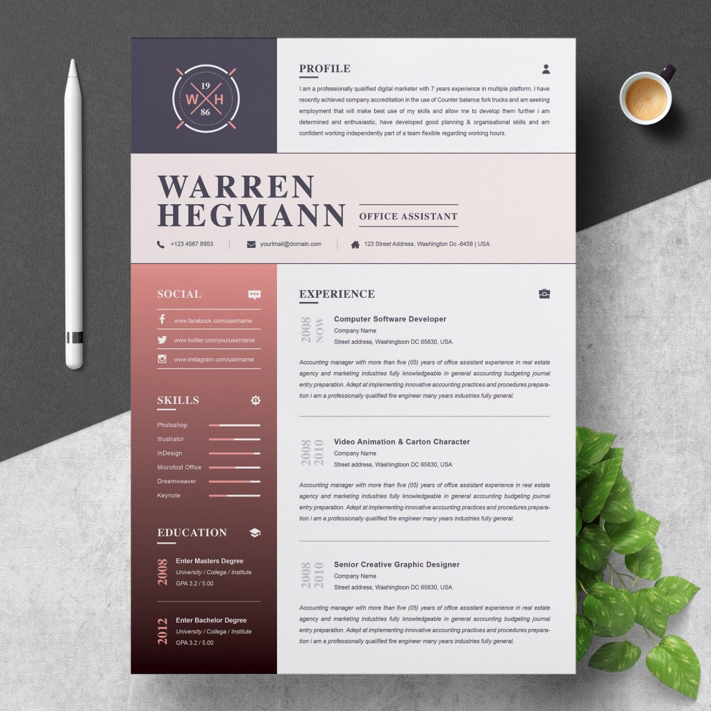 000 Impressive Creative Resume Template Free Download Highest Clarity  For Microsoft Word Fresher Cv DocLarge