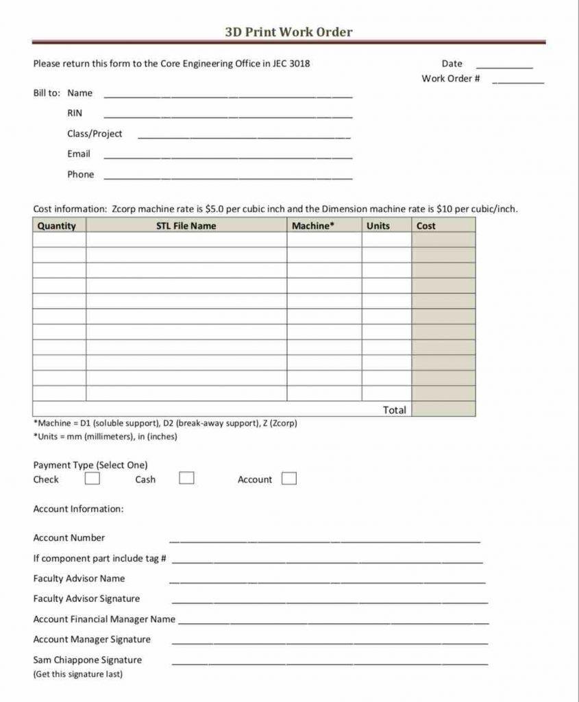 000 Impressive Excel Spreadsheet Work Order Template Design Full