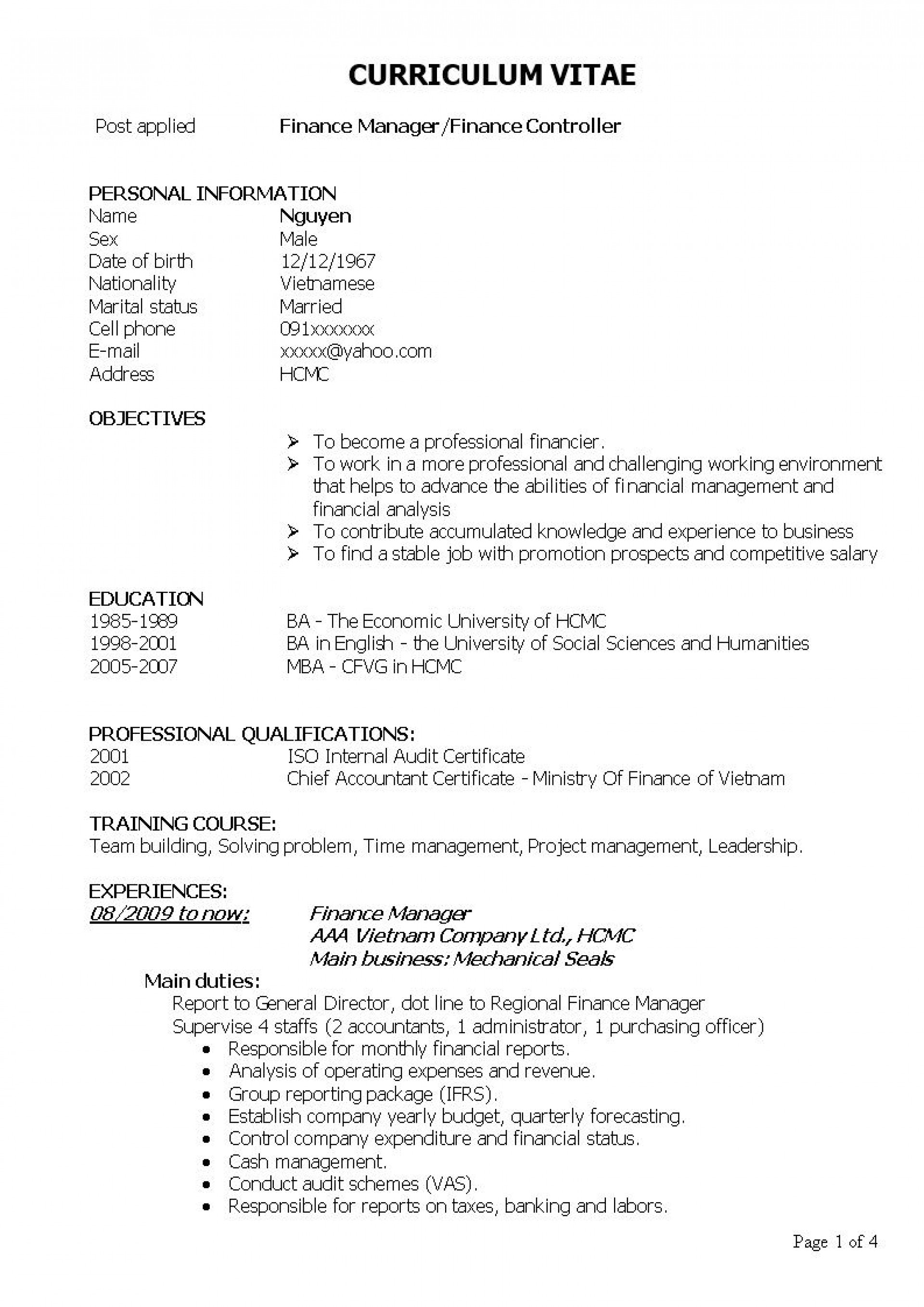 000 Impressive Finance Resume Template Word Image  Financial Analyst Download1920
