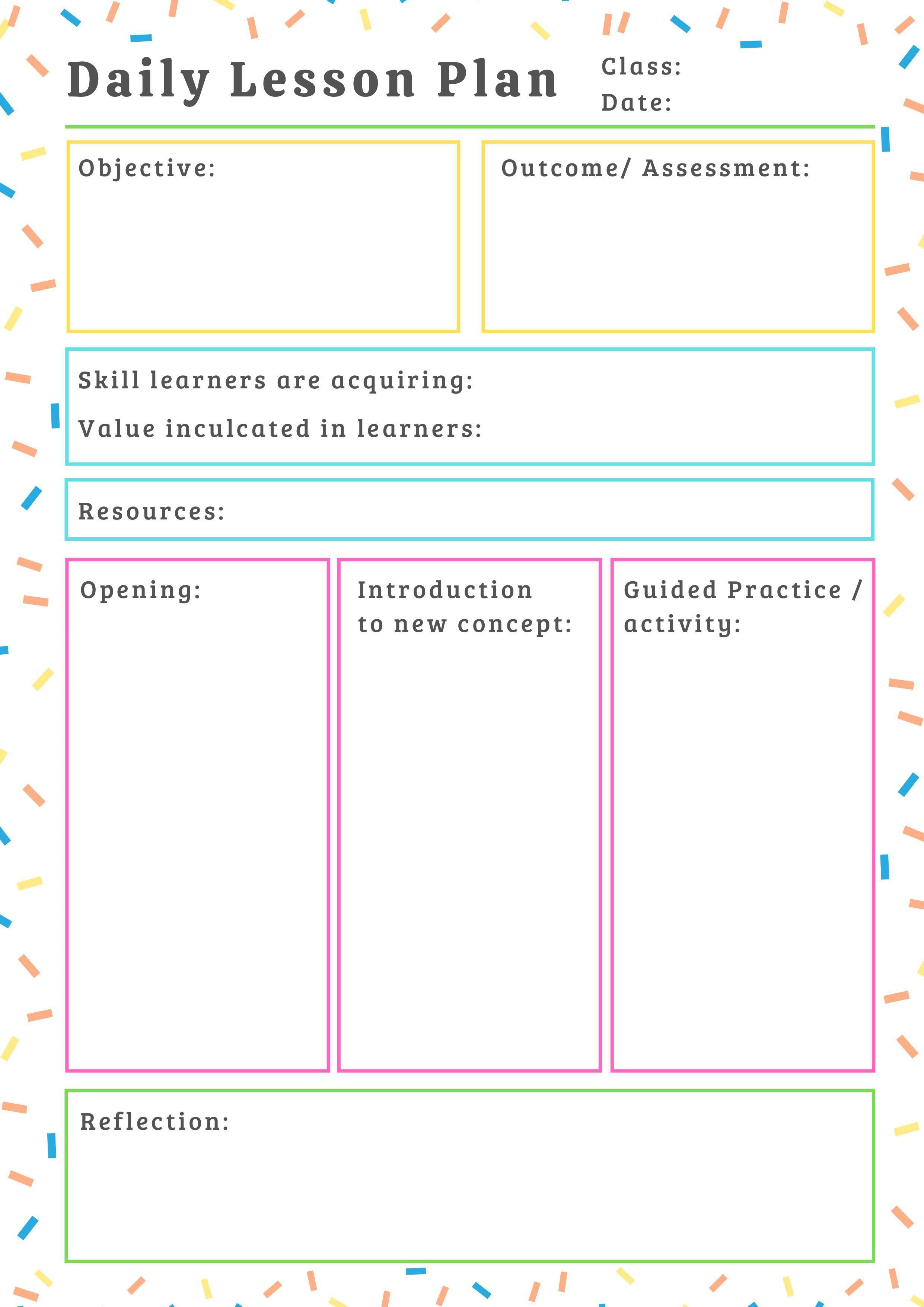 000 Impressive Free Printable Lesson Plan Template For Elementary Teacher High Resolution  TeachersFull