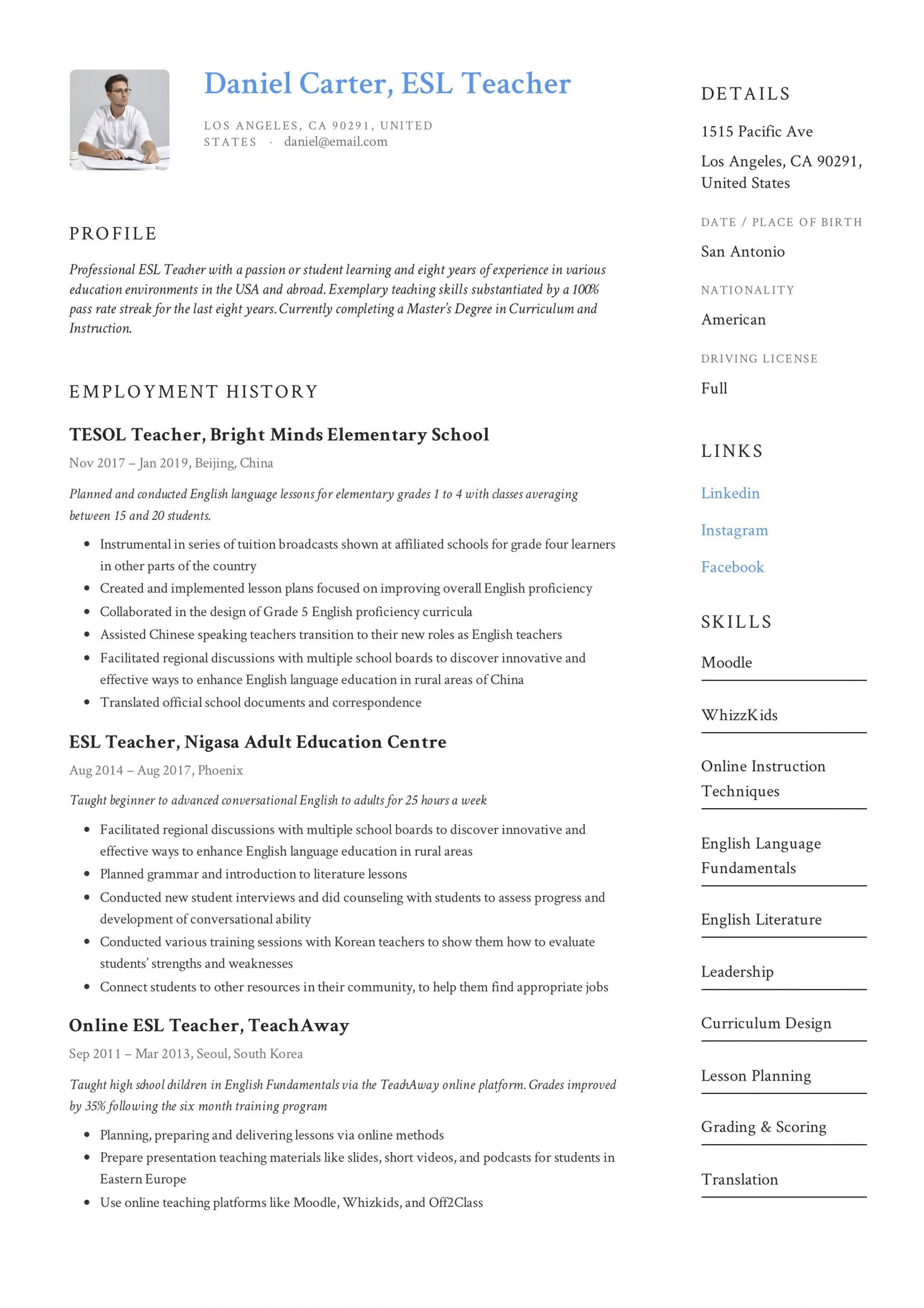 000 Impressive Good Resume For Teaching Job High Def  Sample Teacher Fresher In India1920