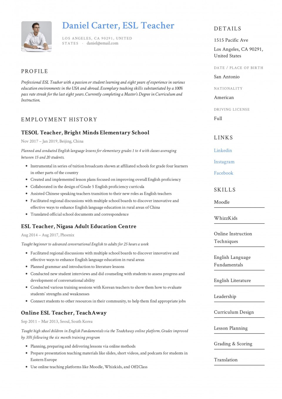 000 Impressive Good Resume For Teaching Job High Def  Sample Teacher Fresher In India960