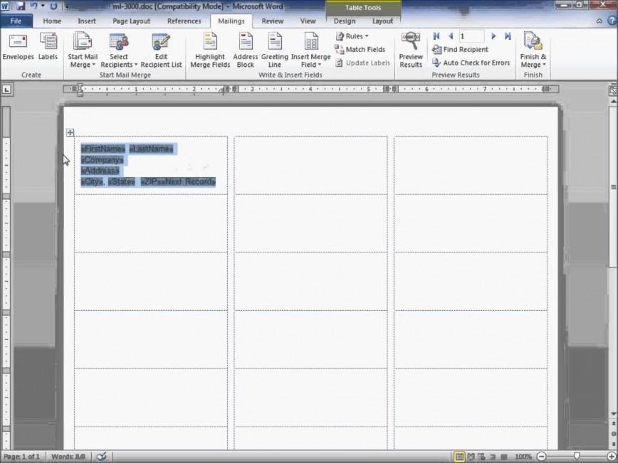 Microsoft Word Address Label Template