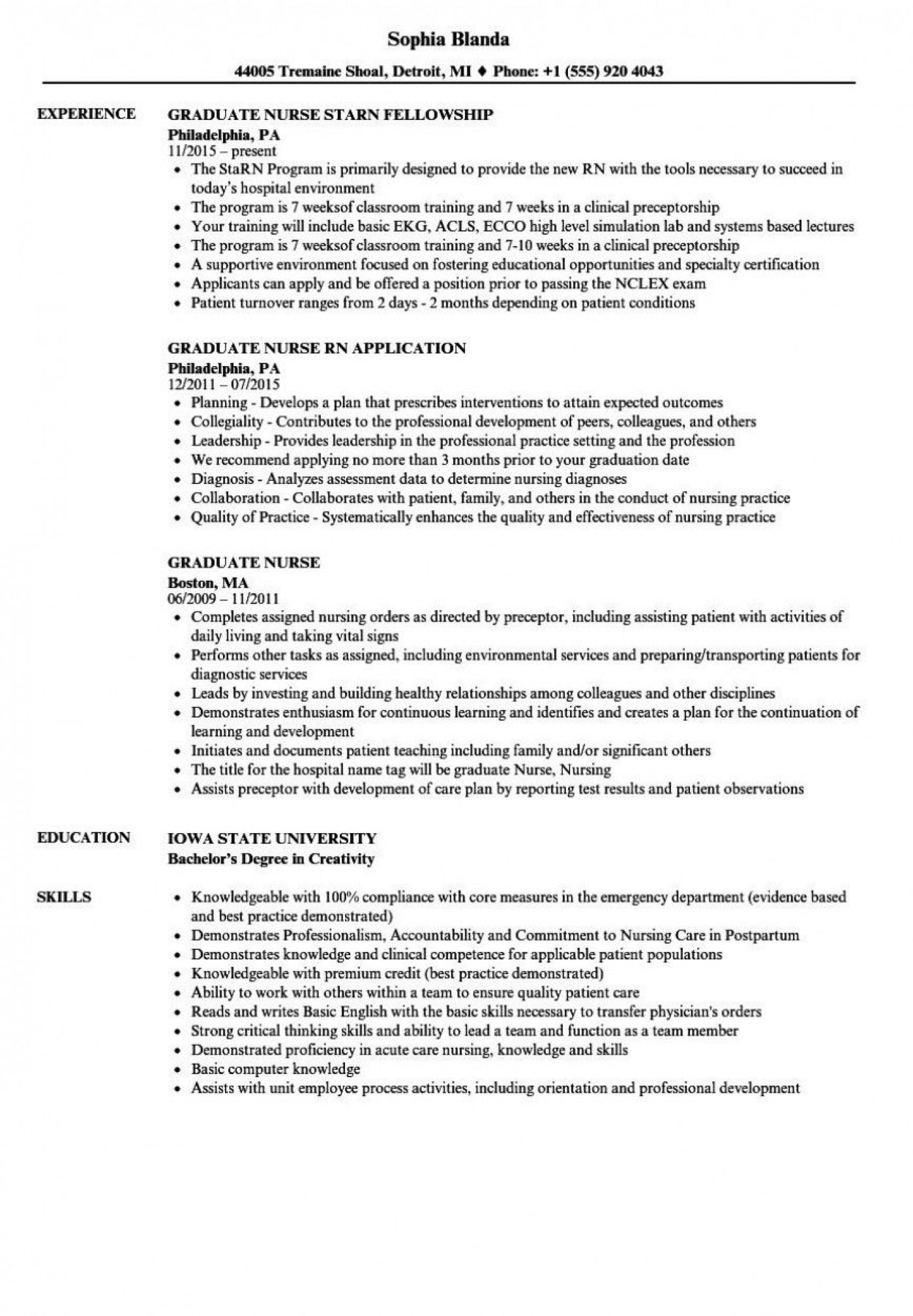 000 Impressive New Grad Nursing Resume Template Example  Graduate Nurse Practitioner1400