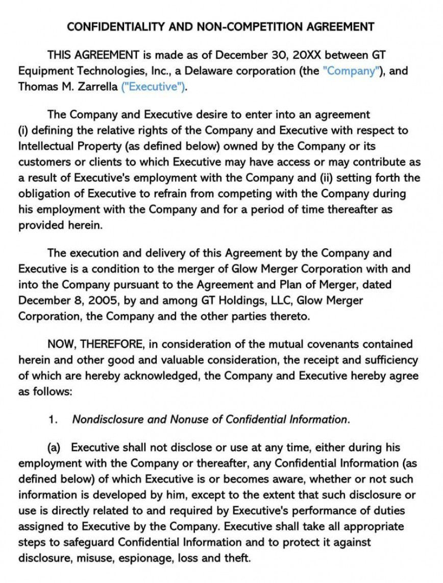 000 Impressive Non Compete Agreement Template Uk High Resolution Full