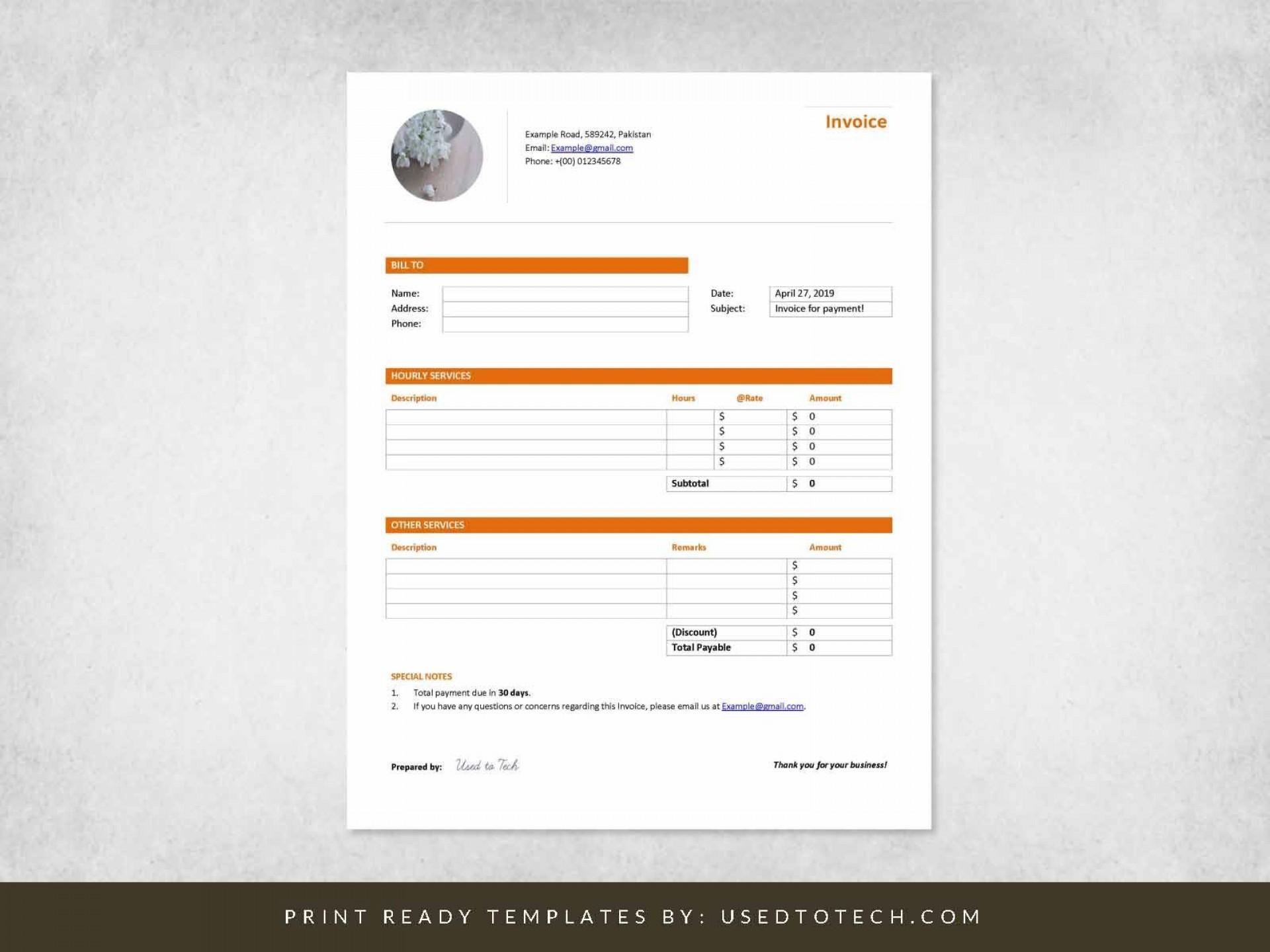 000 Impressive Professional Invoice Template Word Highest Quality  Service Microsoft1920