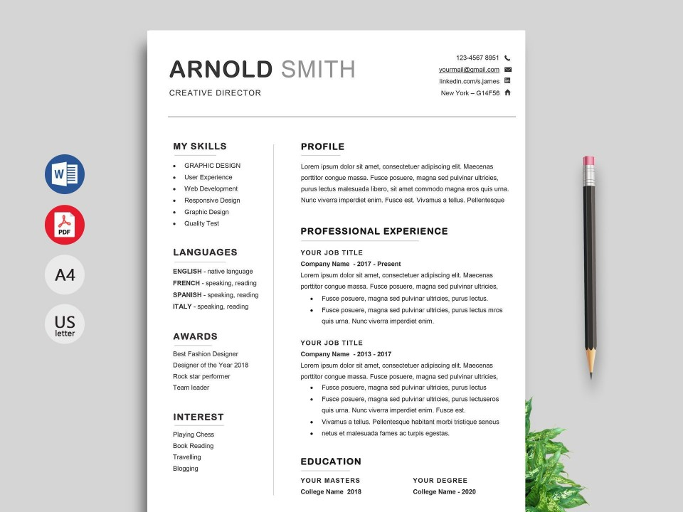 000 Impressive Professional Resume Template 2018 Free Download Idea 960