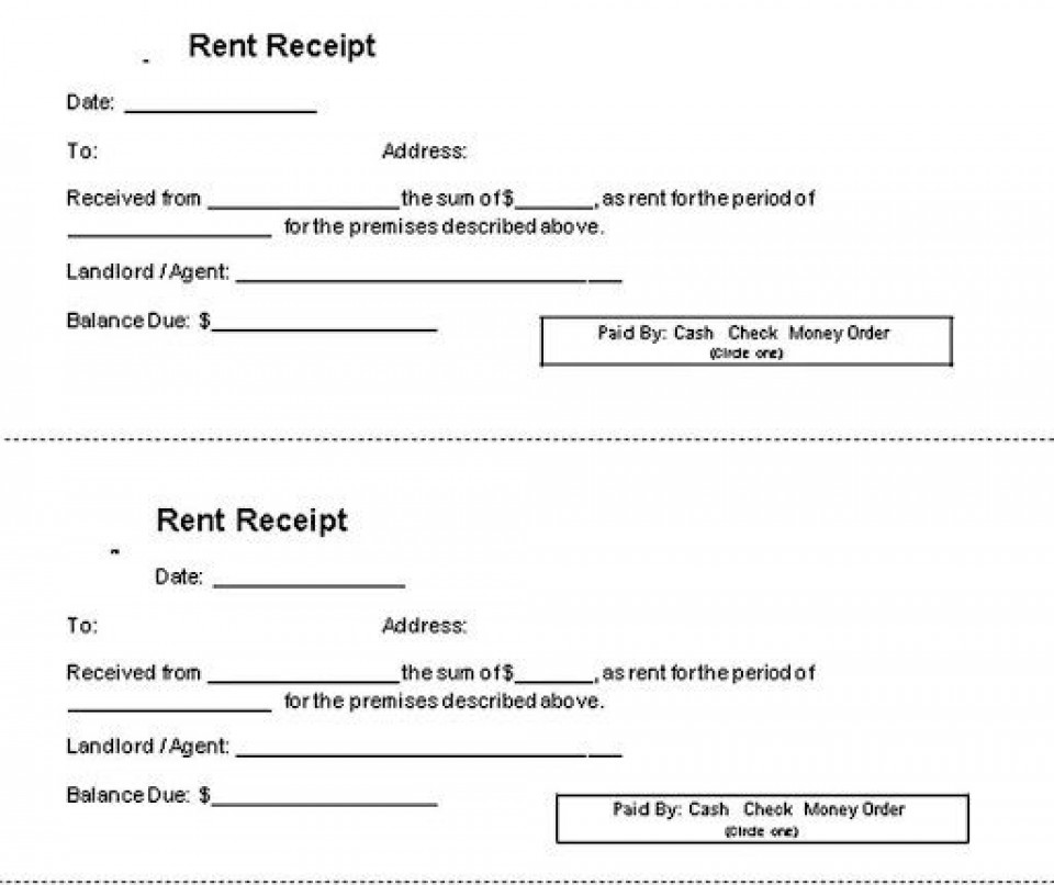 000 Impressive Rent Receipt Template Doc Example  House Format Download Free960