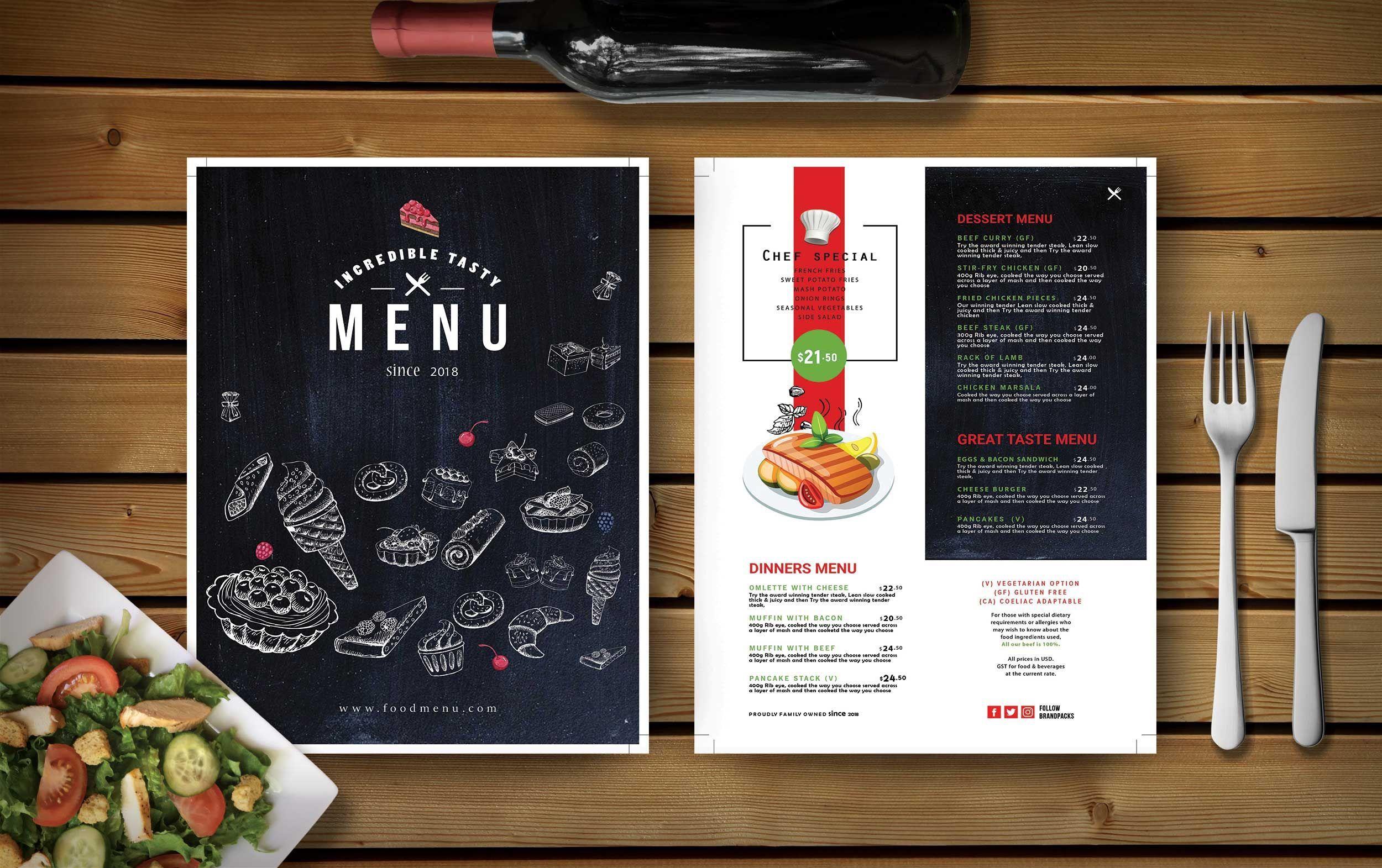 000 Impressive Restaurant Menu Template Free Download Psd Photo  DesignFull
