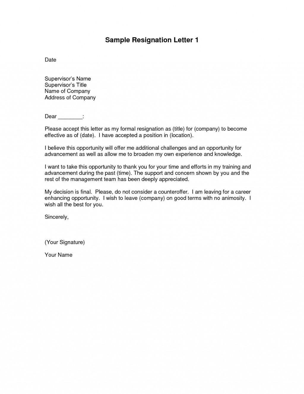 000 Impressive Sample Resignation Letter Template Design  For Teacher Word - Free DownloadableLarge
