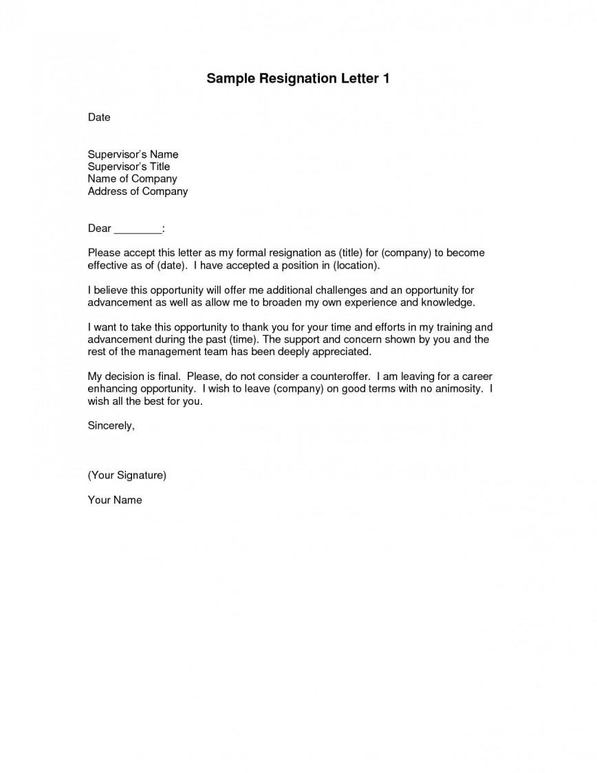 000 Impressive Sample Resignation Letter Template Design  Word For Teacher Email