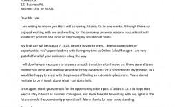 000 Impressive Sample Resignation Letter Template Email Image
