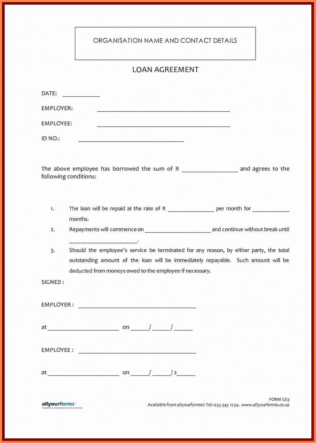 000 Impressive Simple Family Loan Agreement Template Australia Idea Large
