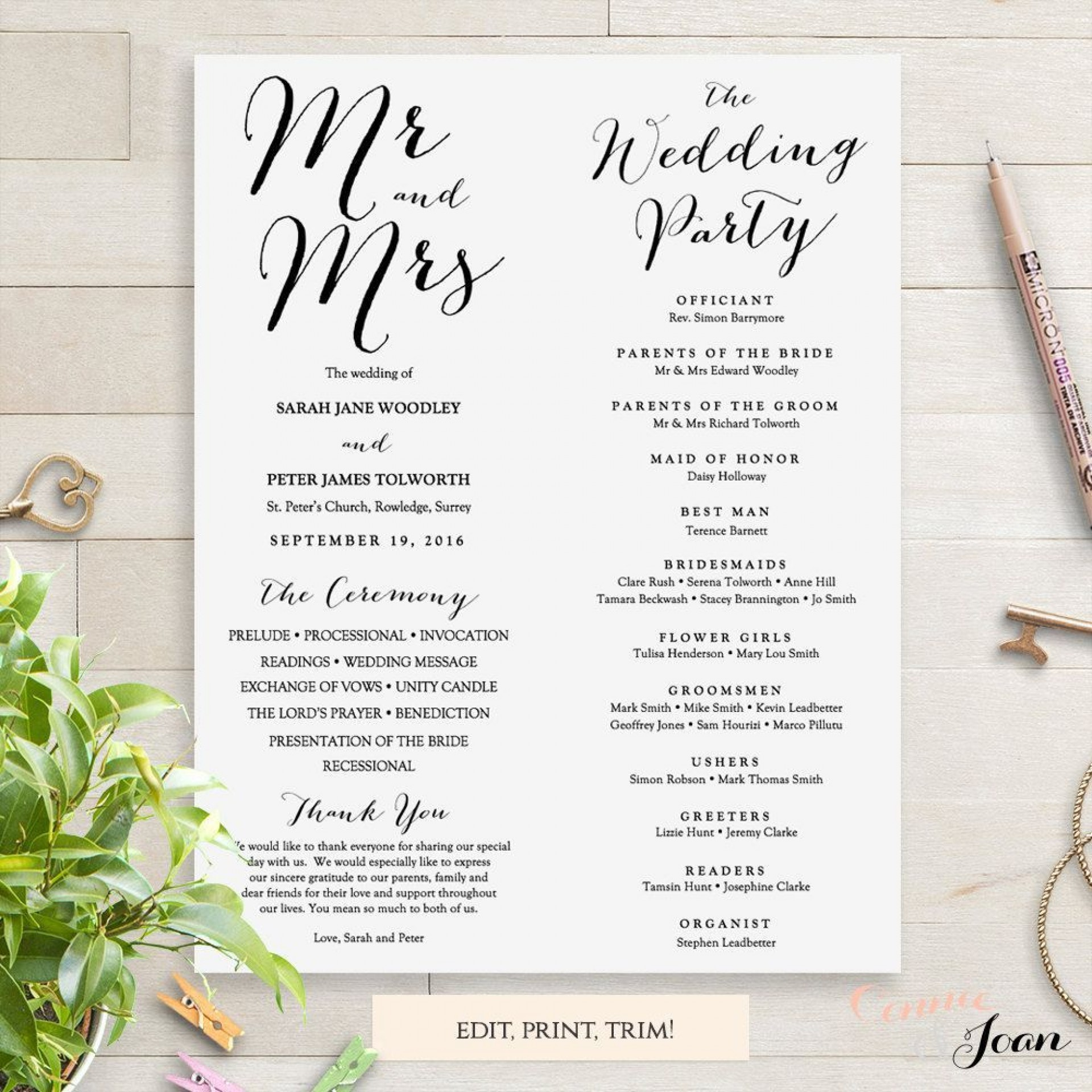 000 Impressive Wedding Order Of Service Template Free Download Idea  Downloadable That Can Be Printed1920