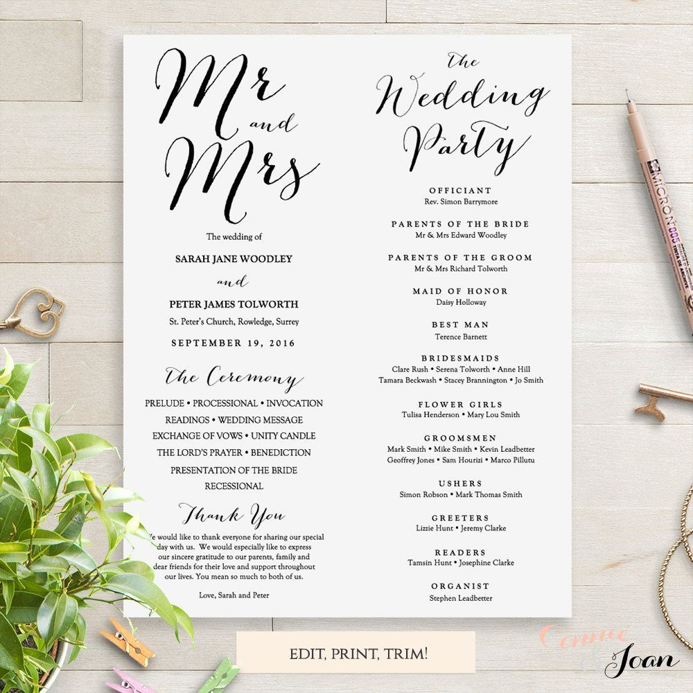 000 Impressive Wedding Order Of Service Template Free Download Idea  Downloadable That Can Be PrintedFull