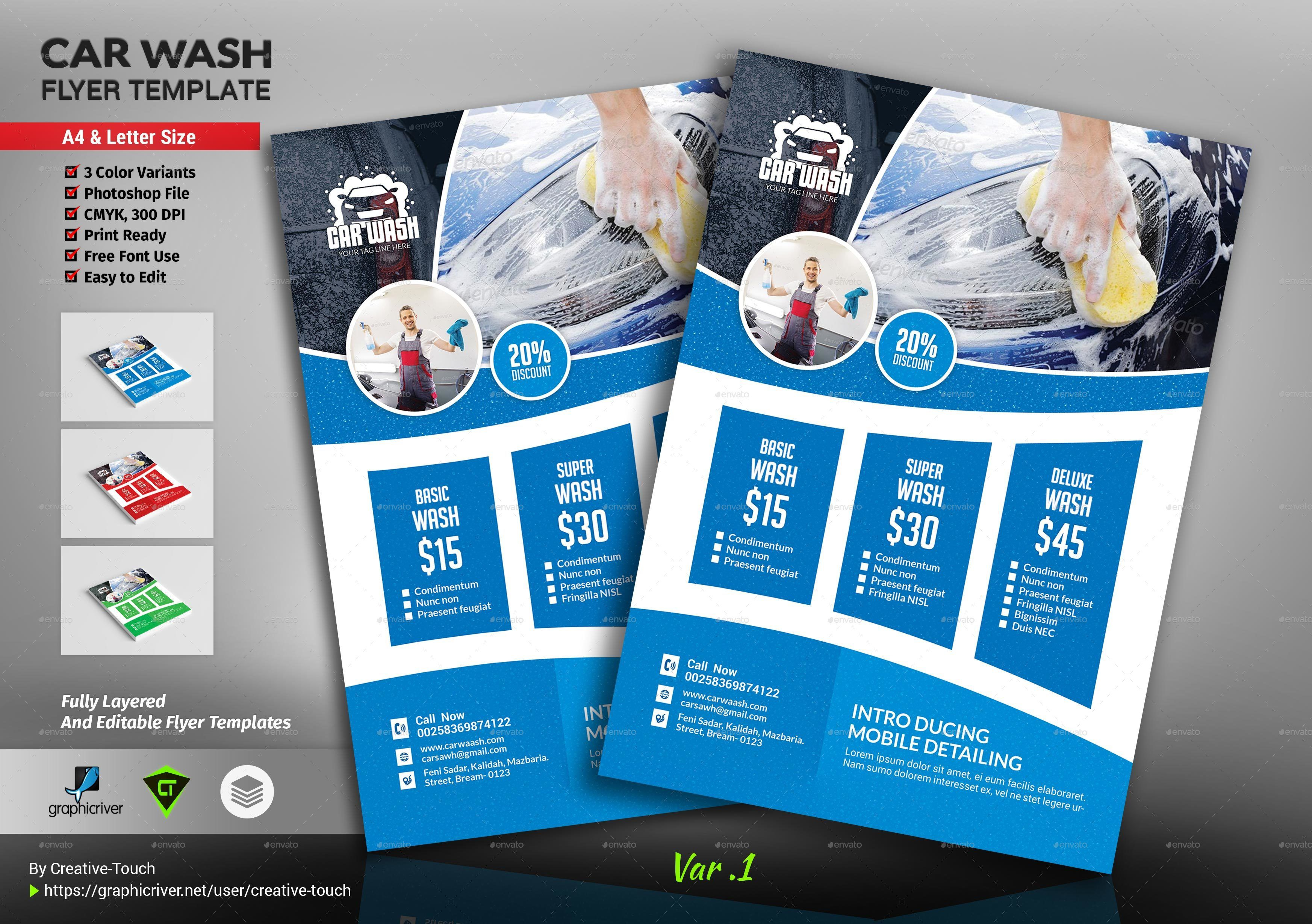 000 Incredible Car Wash Flyer Template Photo  Free Fundraiser DownloadFull