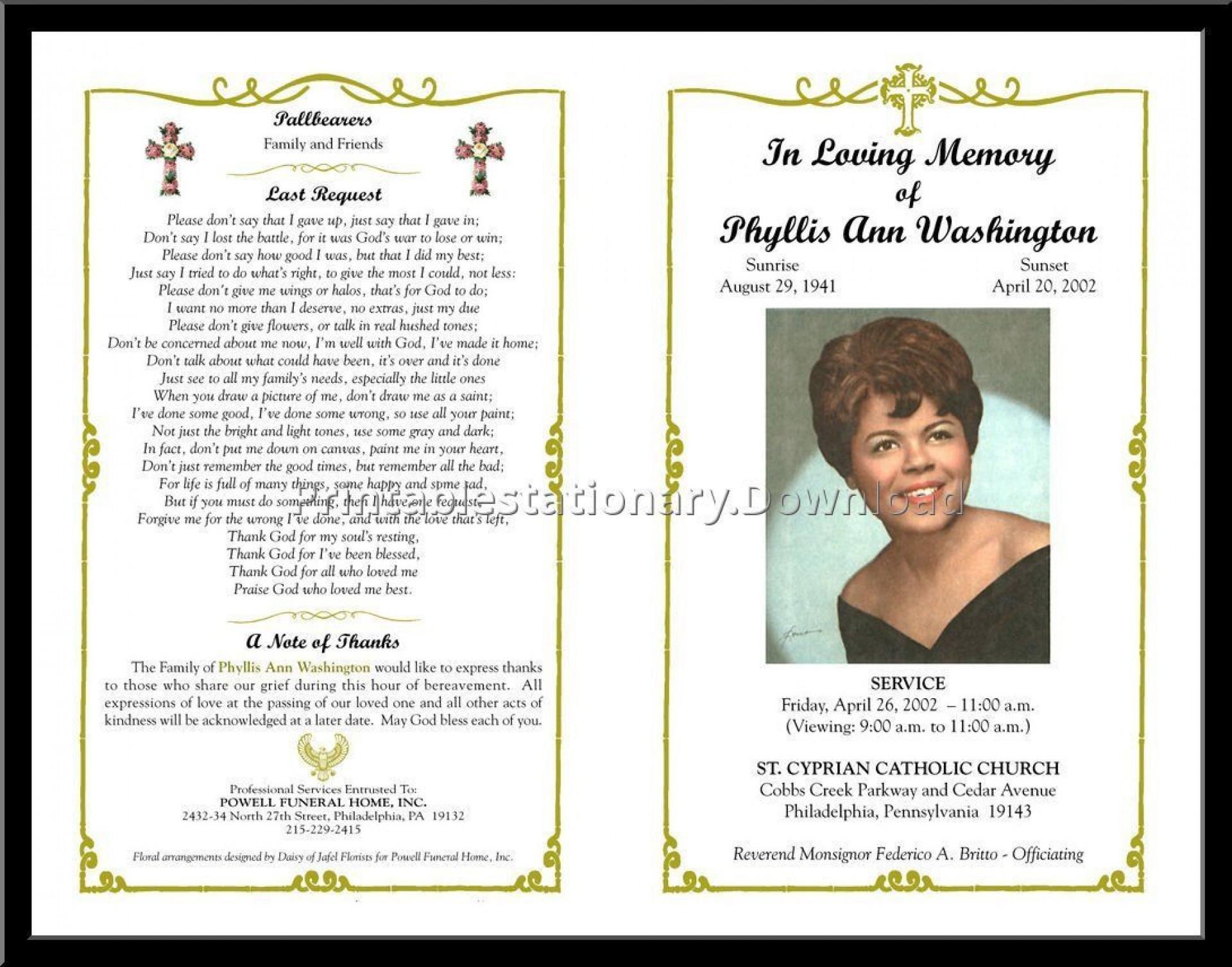 000 Incredible Celebration Of Life Program Template Free Photo  Editable Word1920