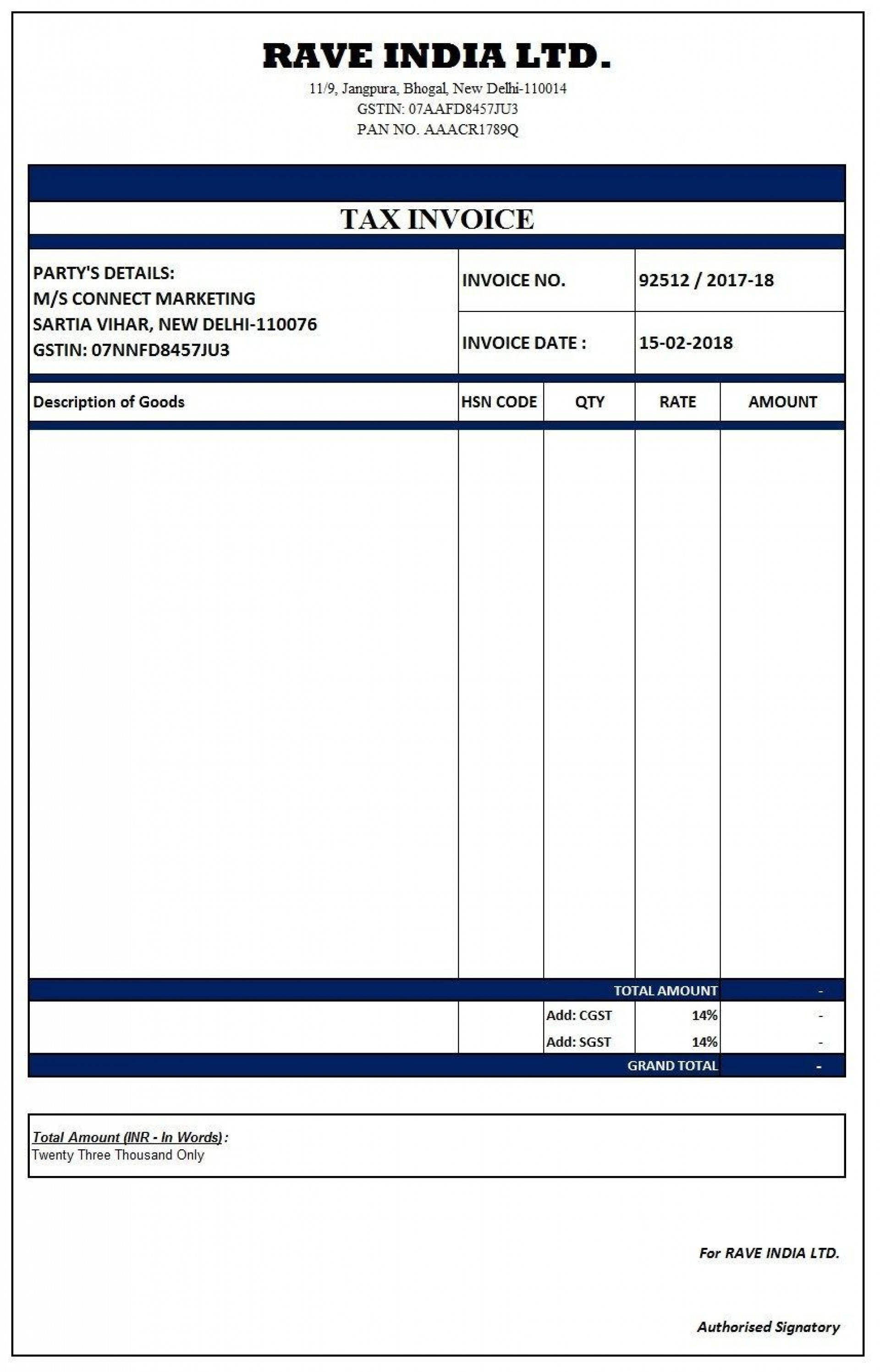 000 Incredible Free Excel Invoice Template Gst India Example 1920