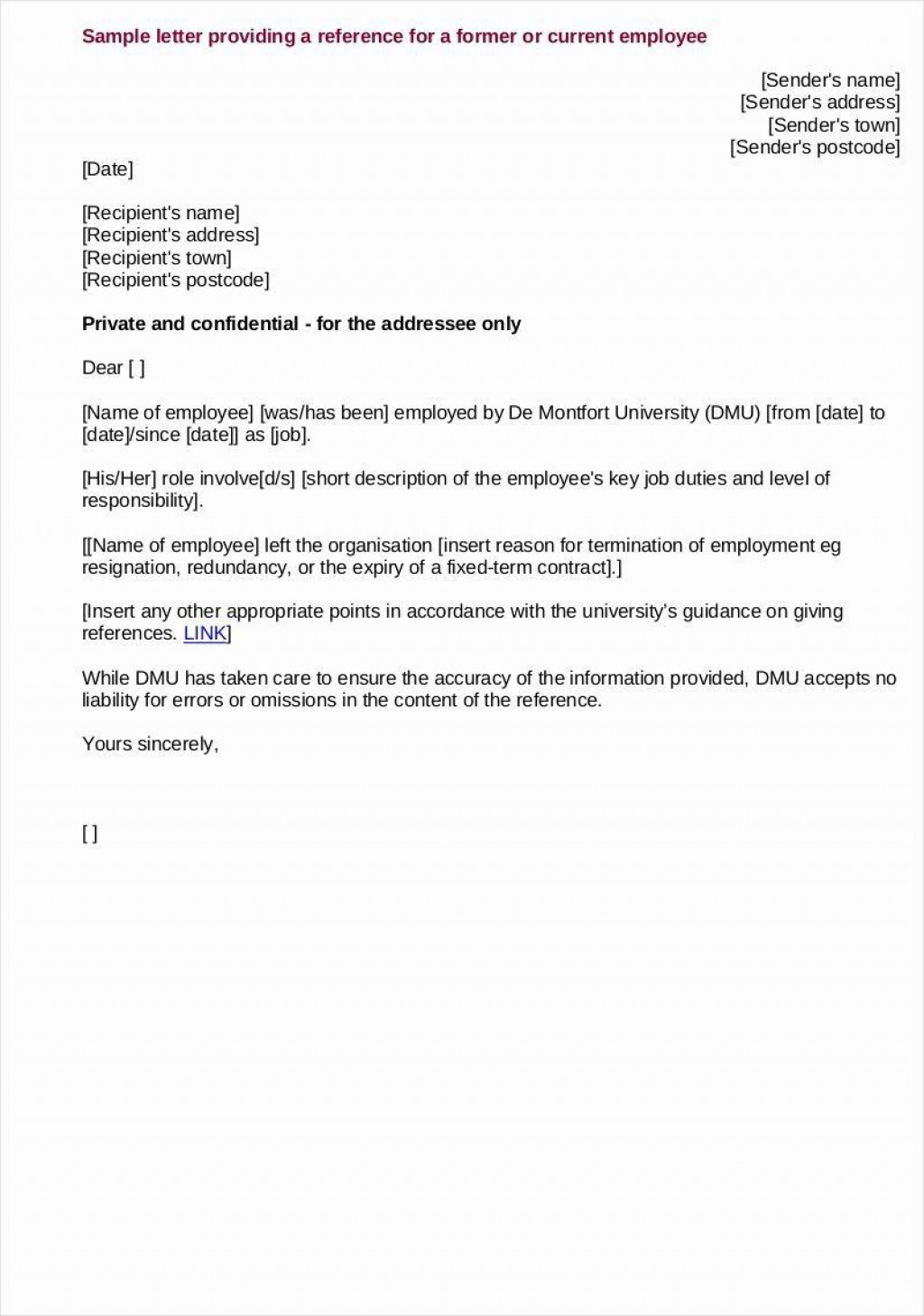 000 Incredible Free Reference Letter Template For Employee Highest Quality  Employment WordLarge