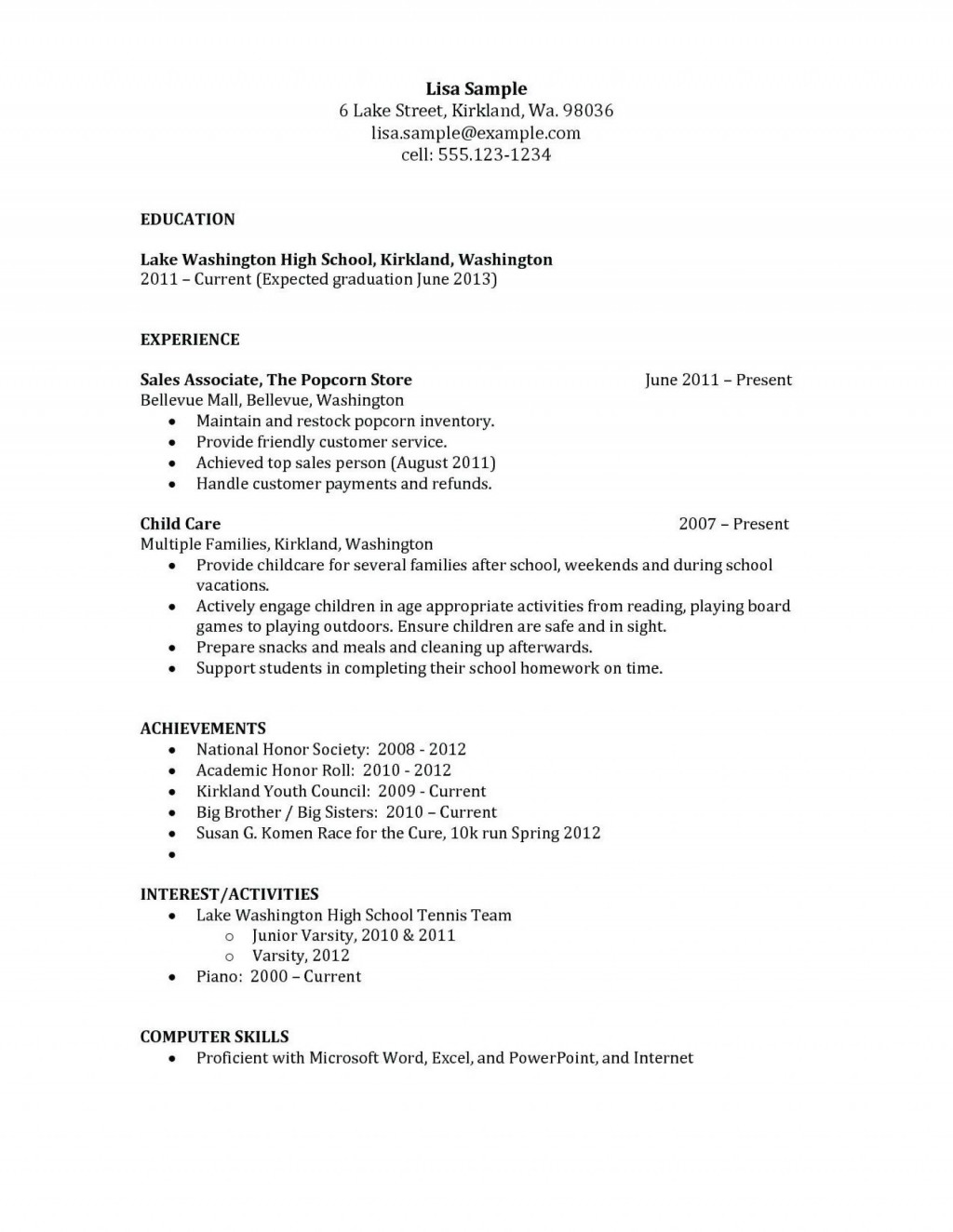000 Incredible Free Sample High School Resume Template Large