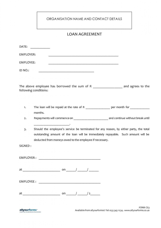 Loan Agreement Template Word Addictionary