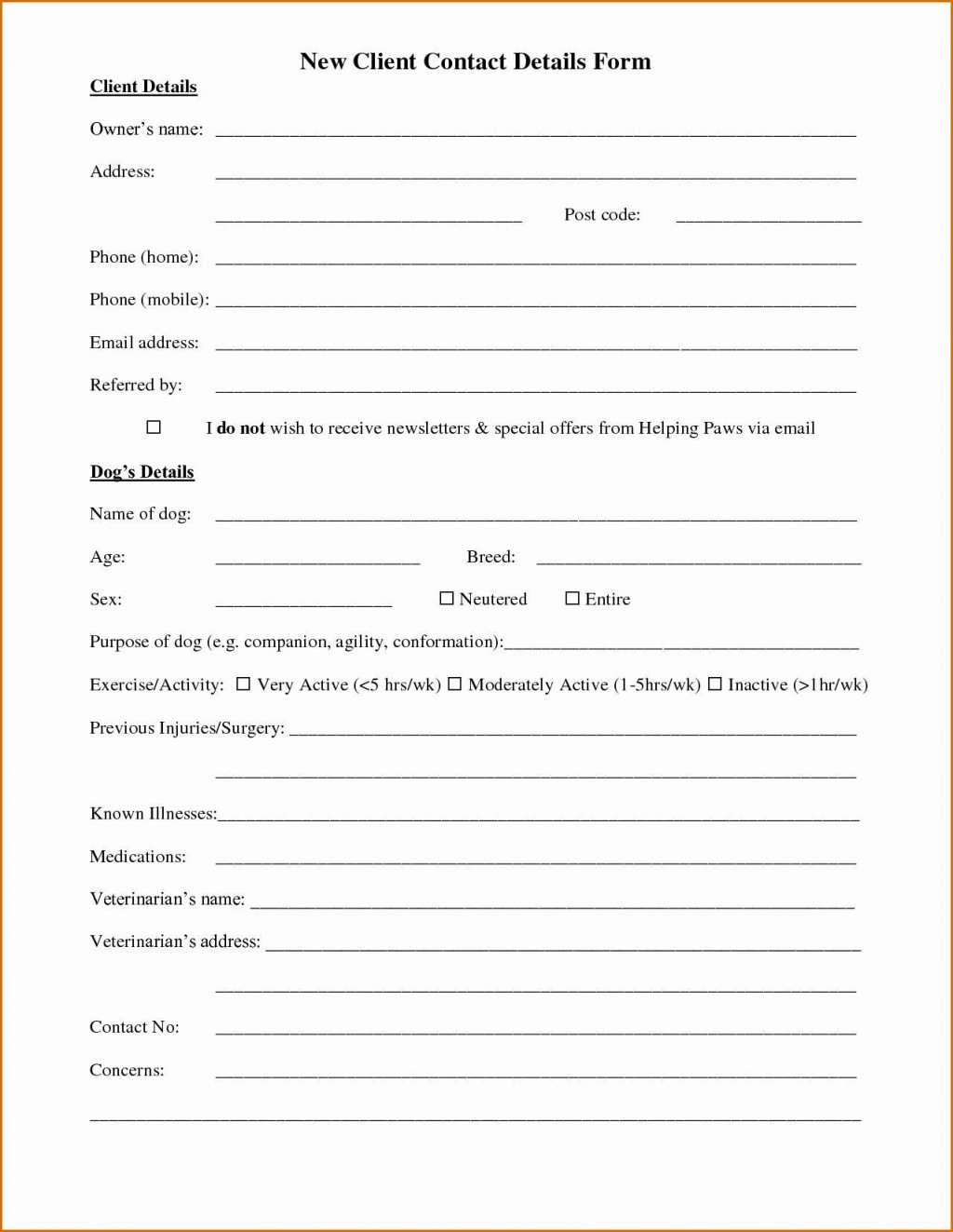 000 Incredible New Client Form Template Highest Clarity  Accounting Free Customer PdfLarge