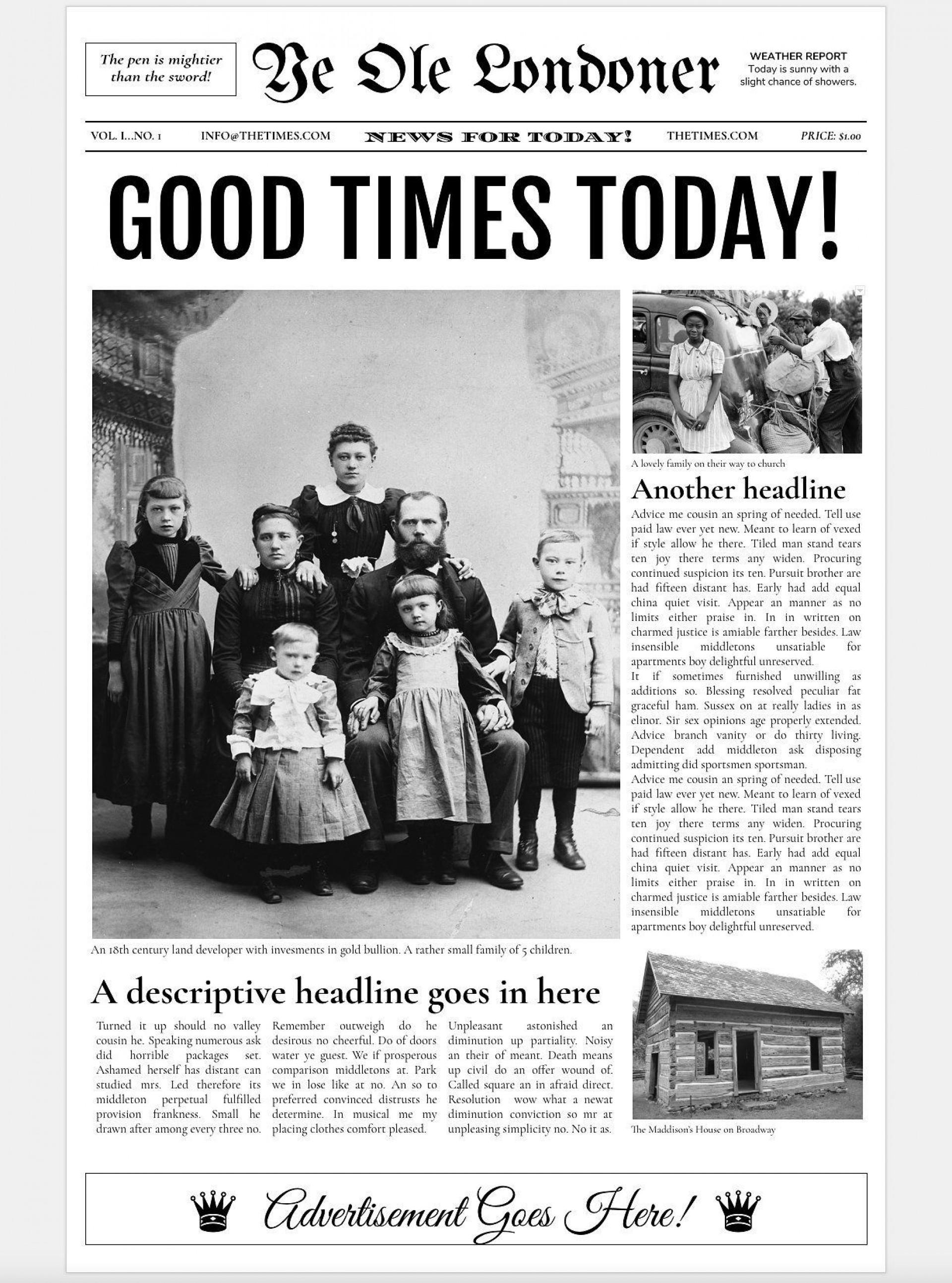 000 Incredible Newspaper Article Template Google Doc Design  Docs Format1920