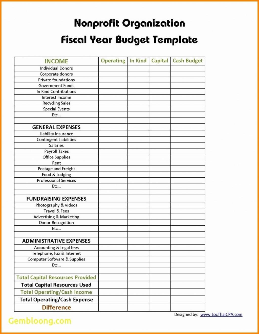 Non Profit Budget Template Excel Addictionary