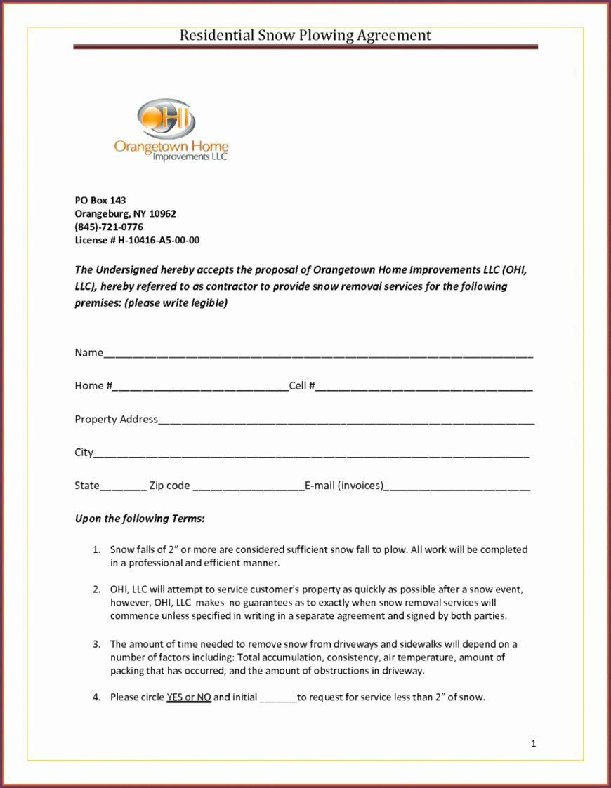 000 Incredible Snow Removal Contract Word Doc Concept Full